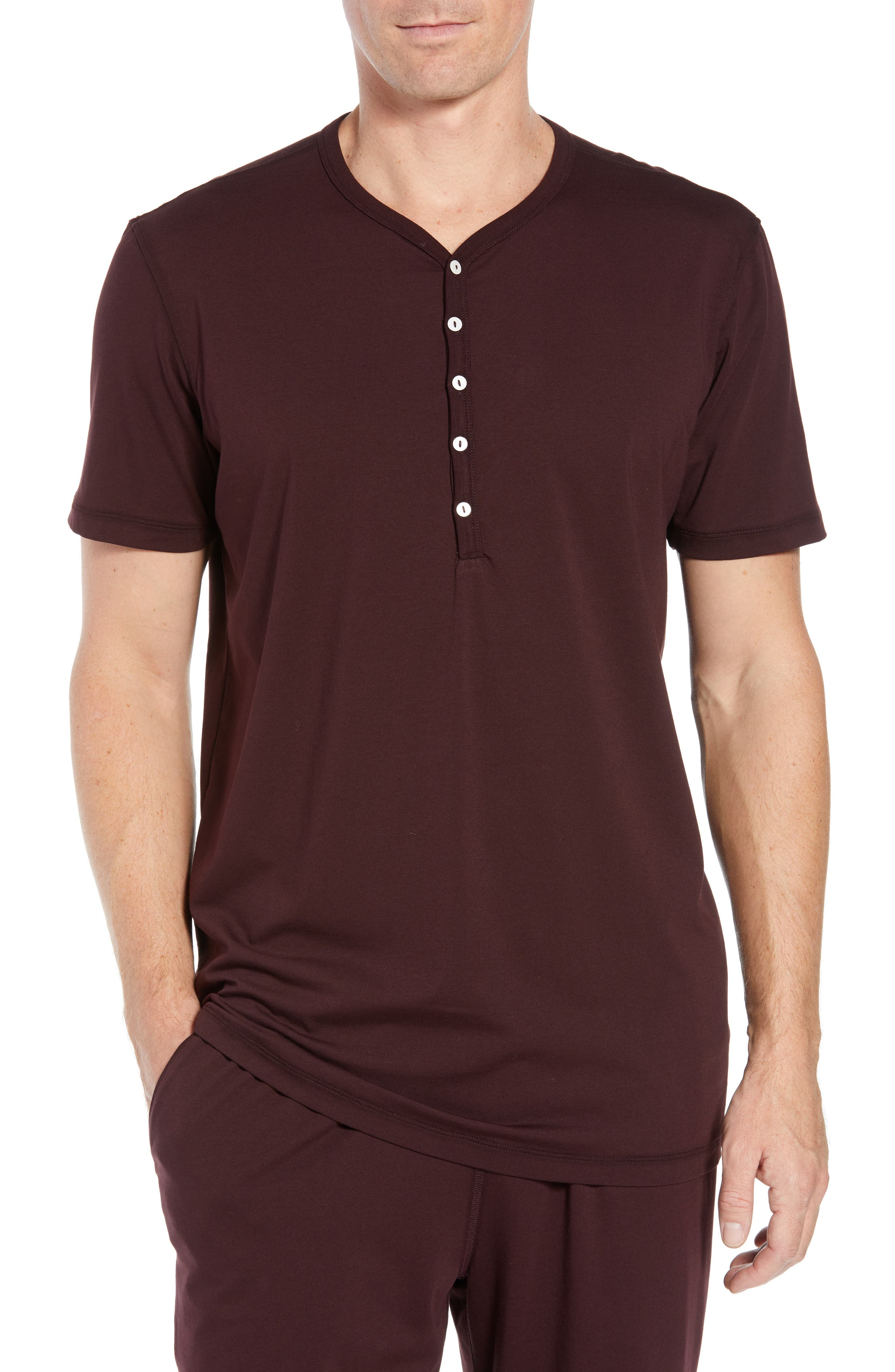 Stretch Cotton & Modal Short Sleeve Henley,                         Main,                         color, WINE