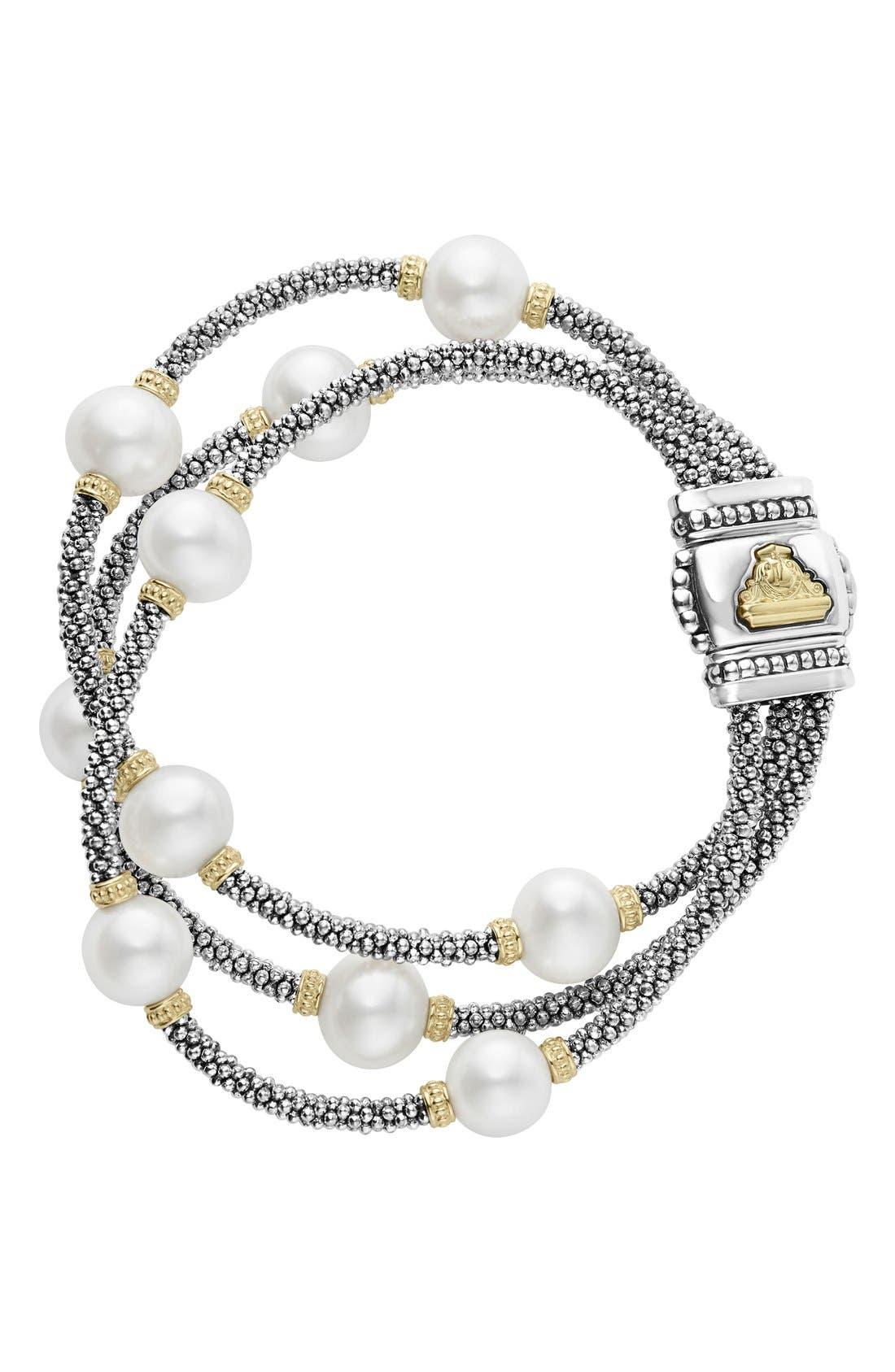 Luna Pearl Triple Strand Bracelet,                         Main,                         color, 040