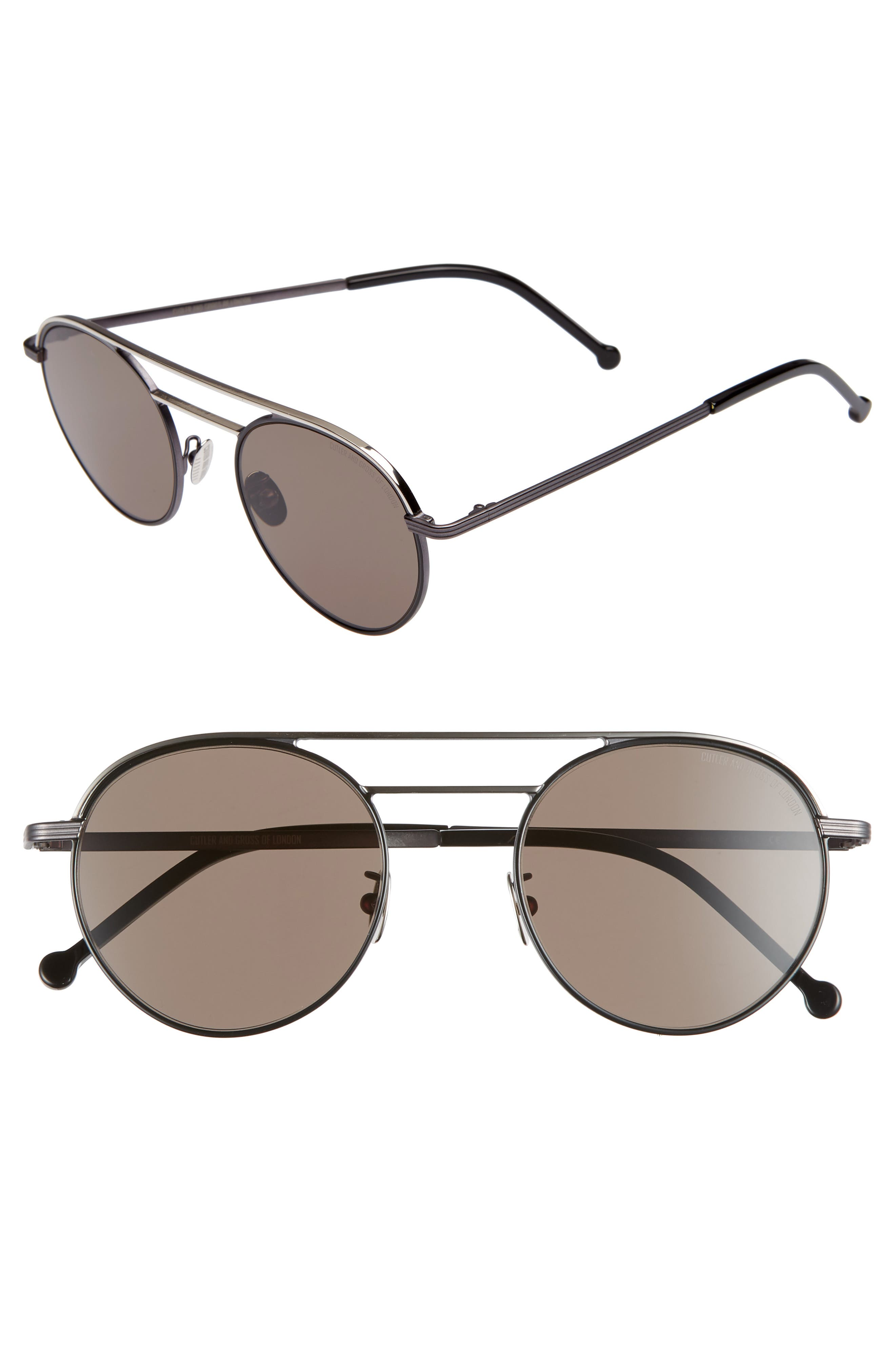 50mm Polarized Round Sunglasses,                         Main,                         color, BLACK/ BLACK