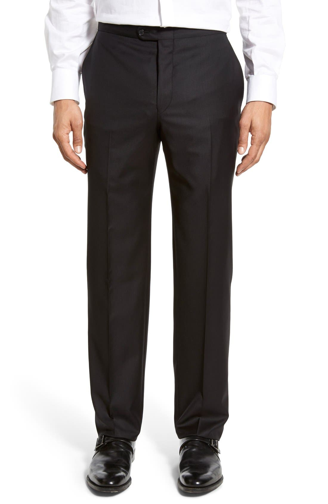 Classic B Fit Flat Front Wool Formal Trousers,                             Main thumbnail 1, color,                             001