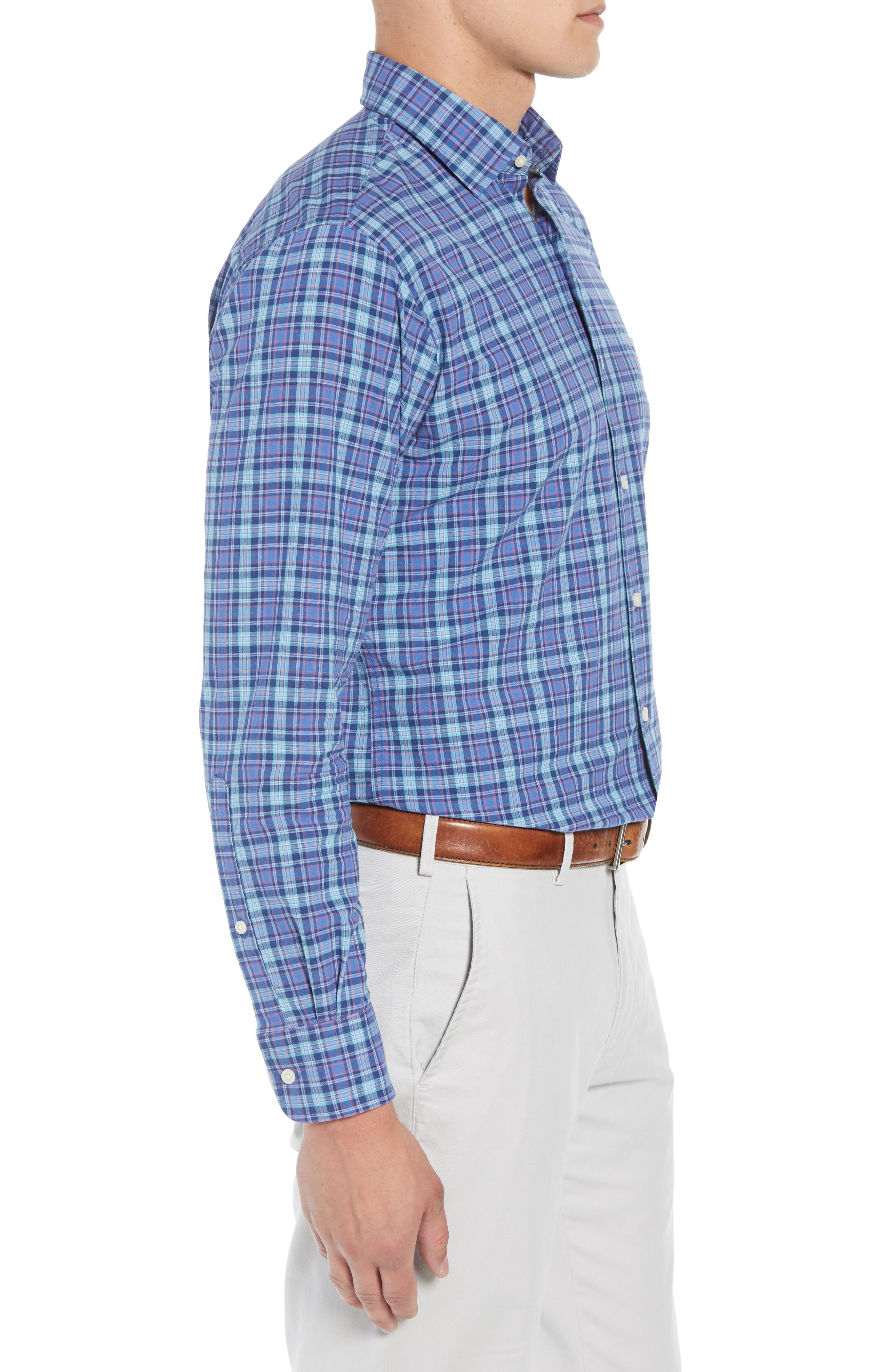 Fisherman's Wharf Regular Fit Plaid Sport Shirt,                             Alternate thumbnail 4, color,                             BLUE