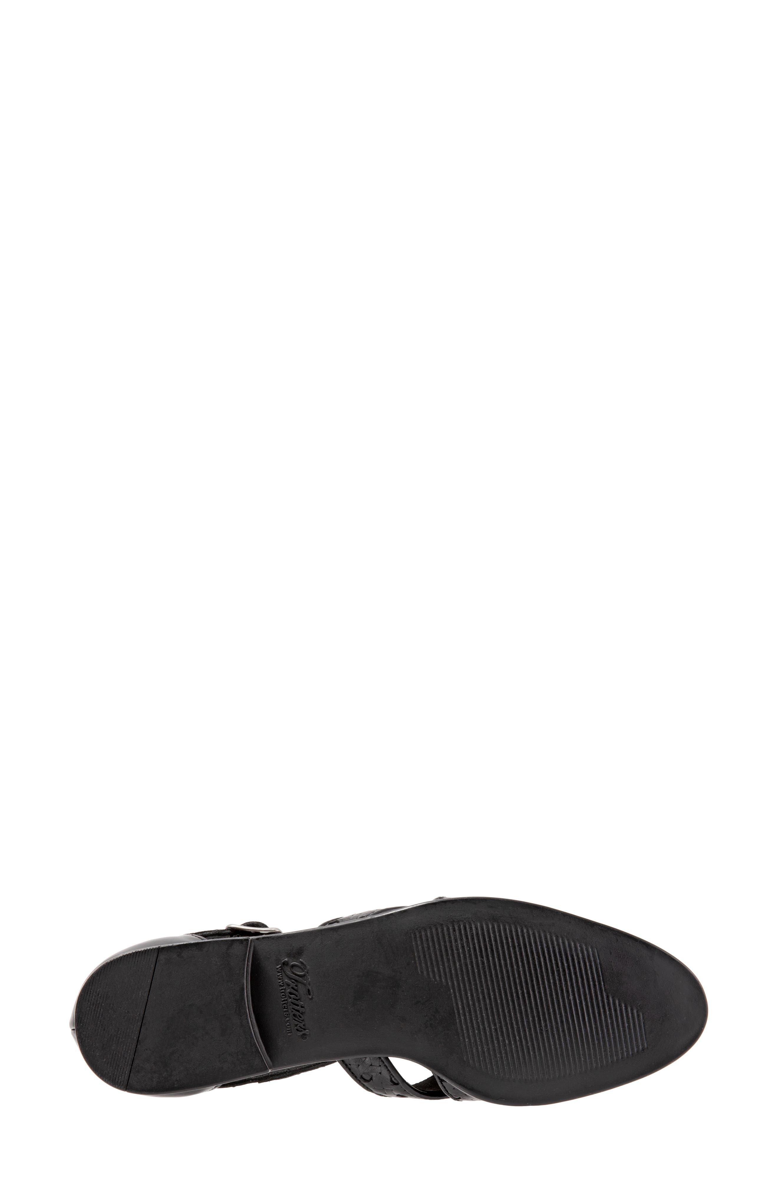 Leatha Open Weave Skimmer Flat,                             Alternate thumbnail 6, color,                             BLACK LEATHER