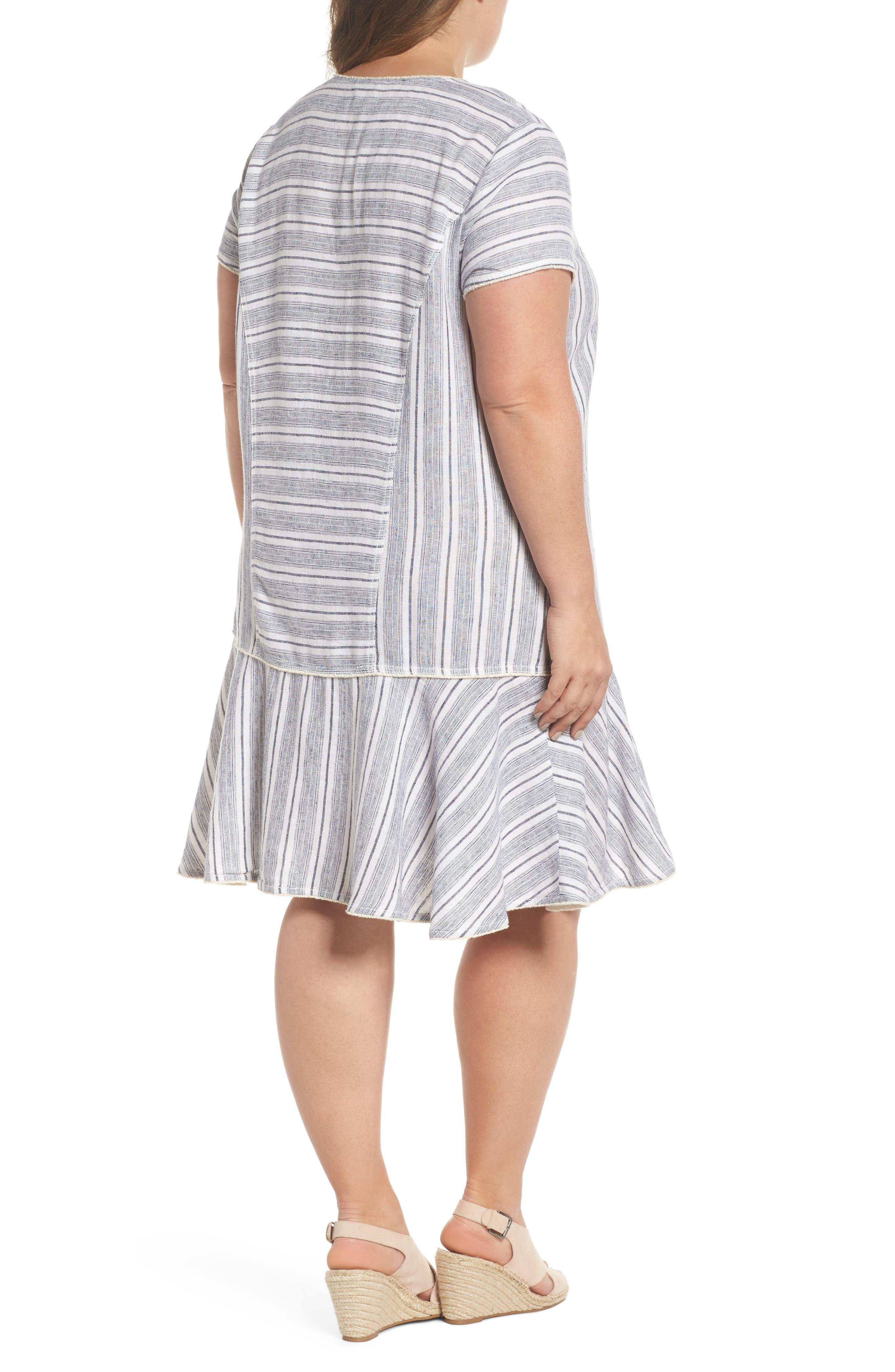 Raw Edge Stripe Linen Blend Dress,                             Alternate thumbnail 2, color,                             900