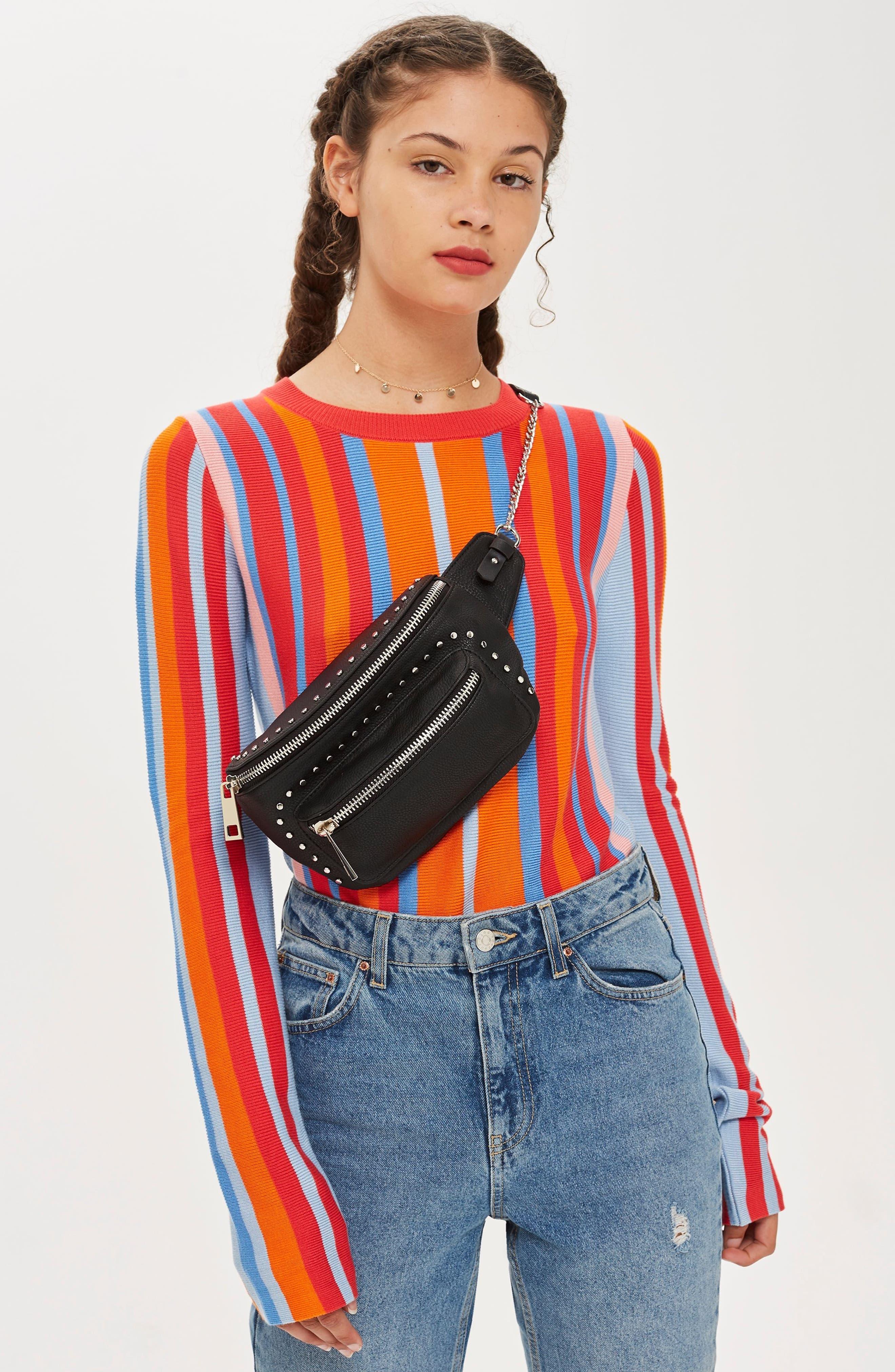 Branden Chain Belt Bag,                             Alternate thumbnail 4, color,                             BLACK