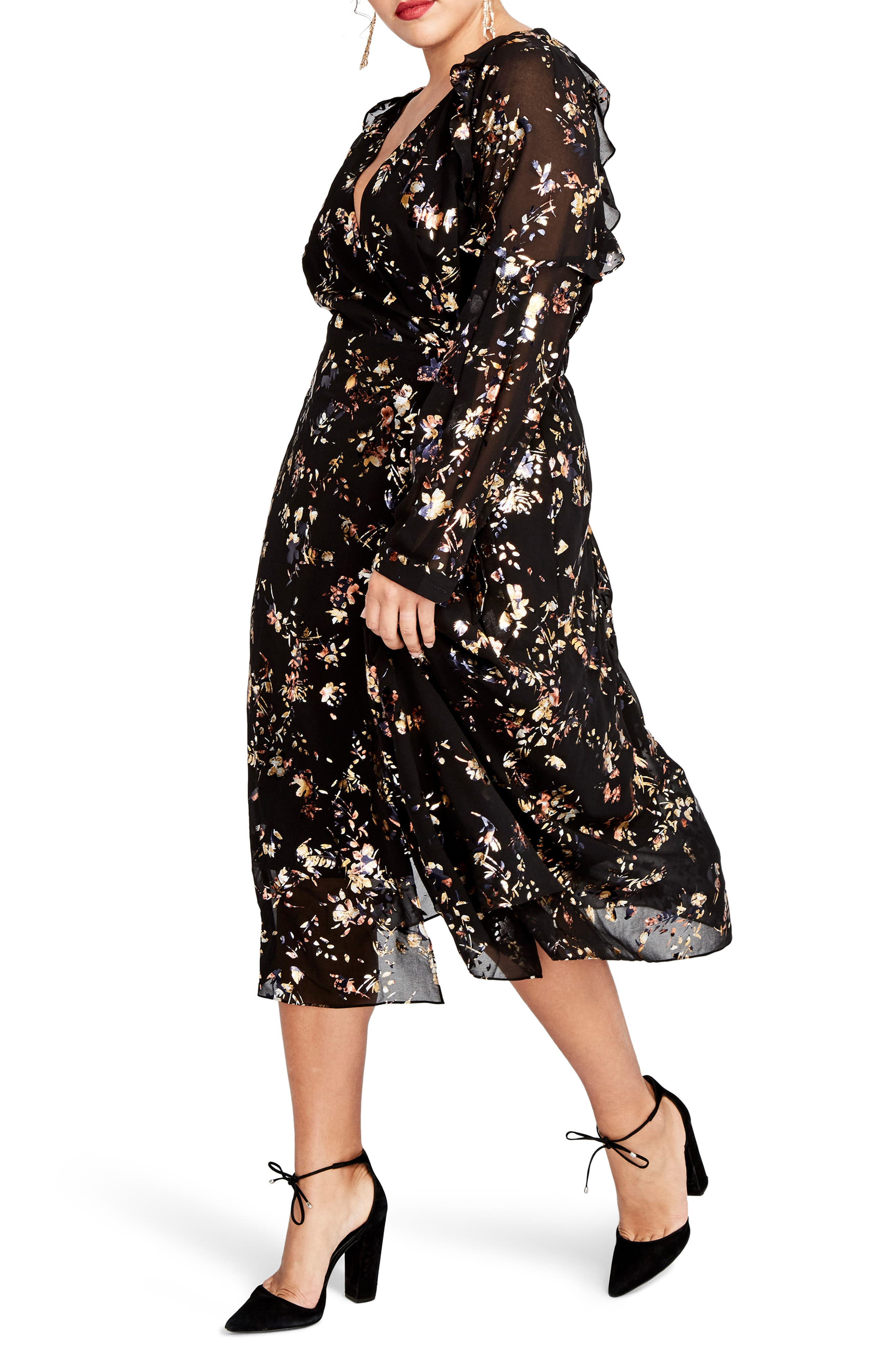 Foiled Floral Faux Wrap Dress,                             Alternate thumbnail 3, color,