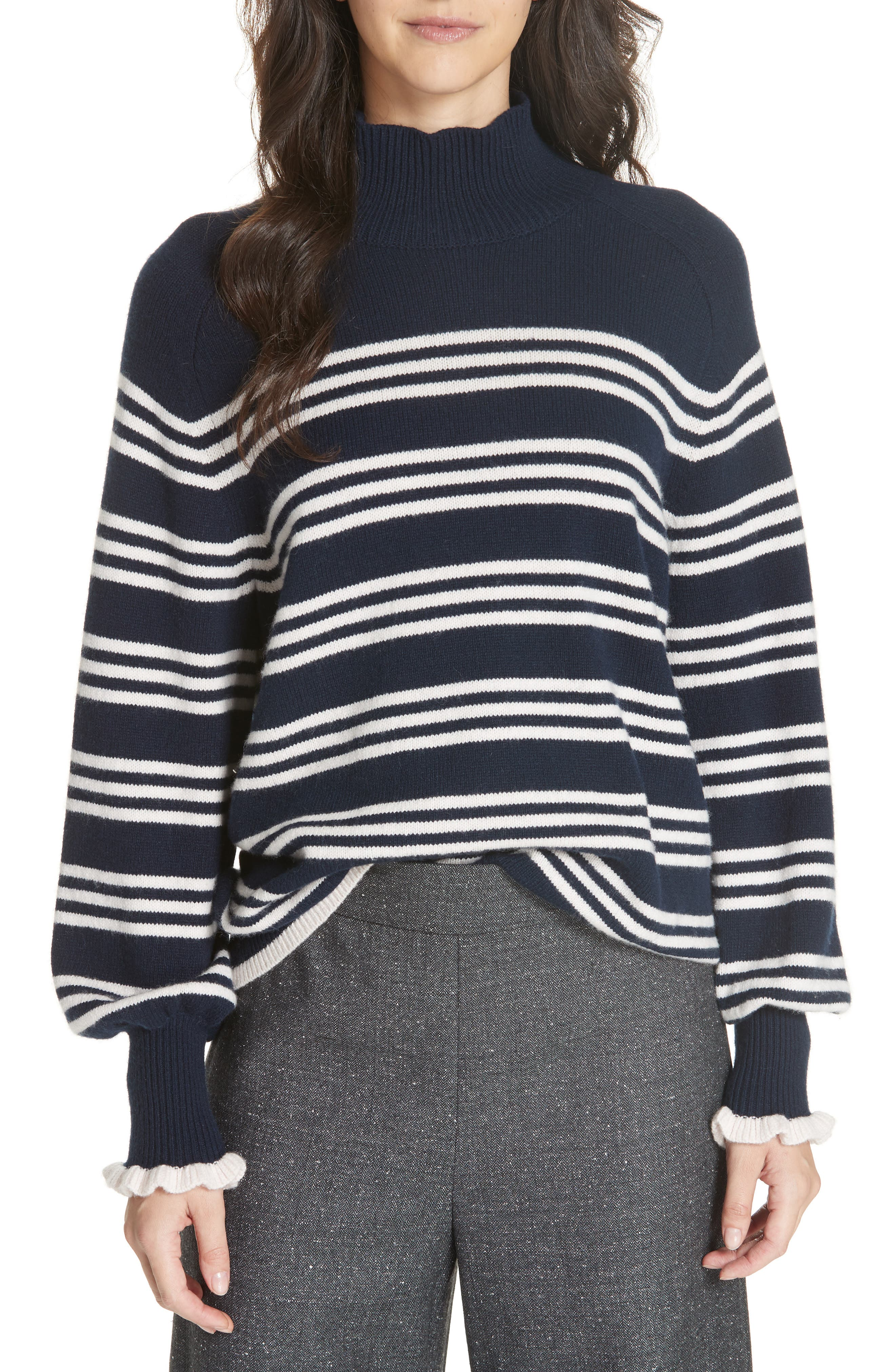 Striped Wool Cotton Blend Blouson Sleeve Sweater,                             Main thumbnail 1, color,                             NAVY COMBO