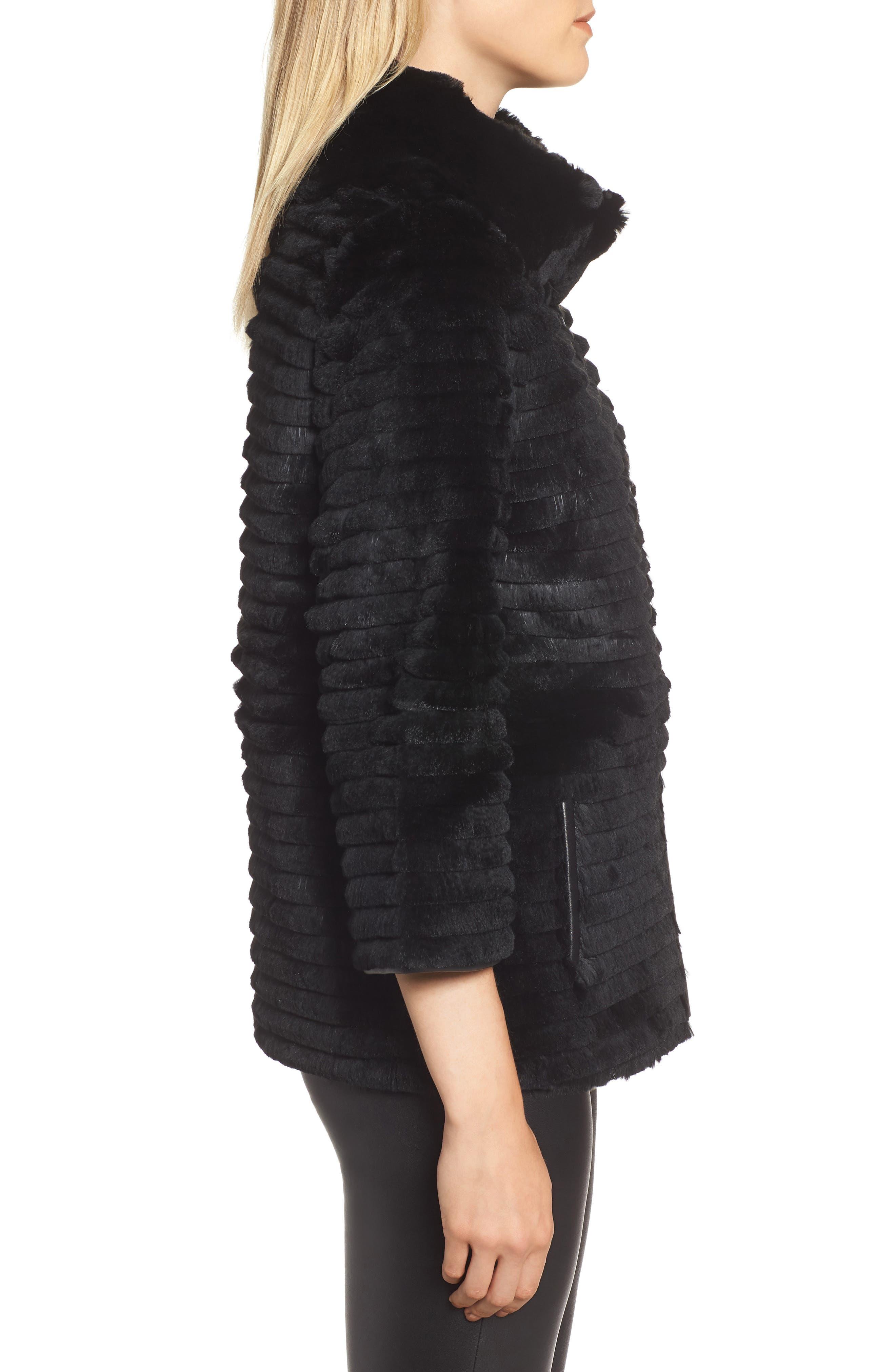 Genuine Rex Rabbit Fur Crop Jacket,                             Alternate thumbnail 3, color,                             BLACK
