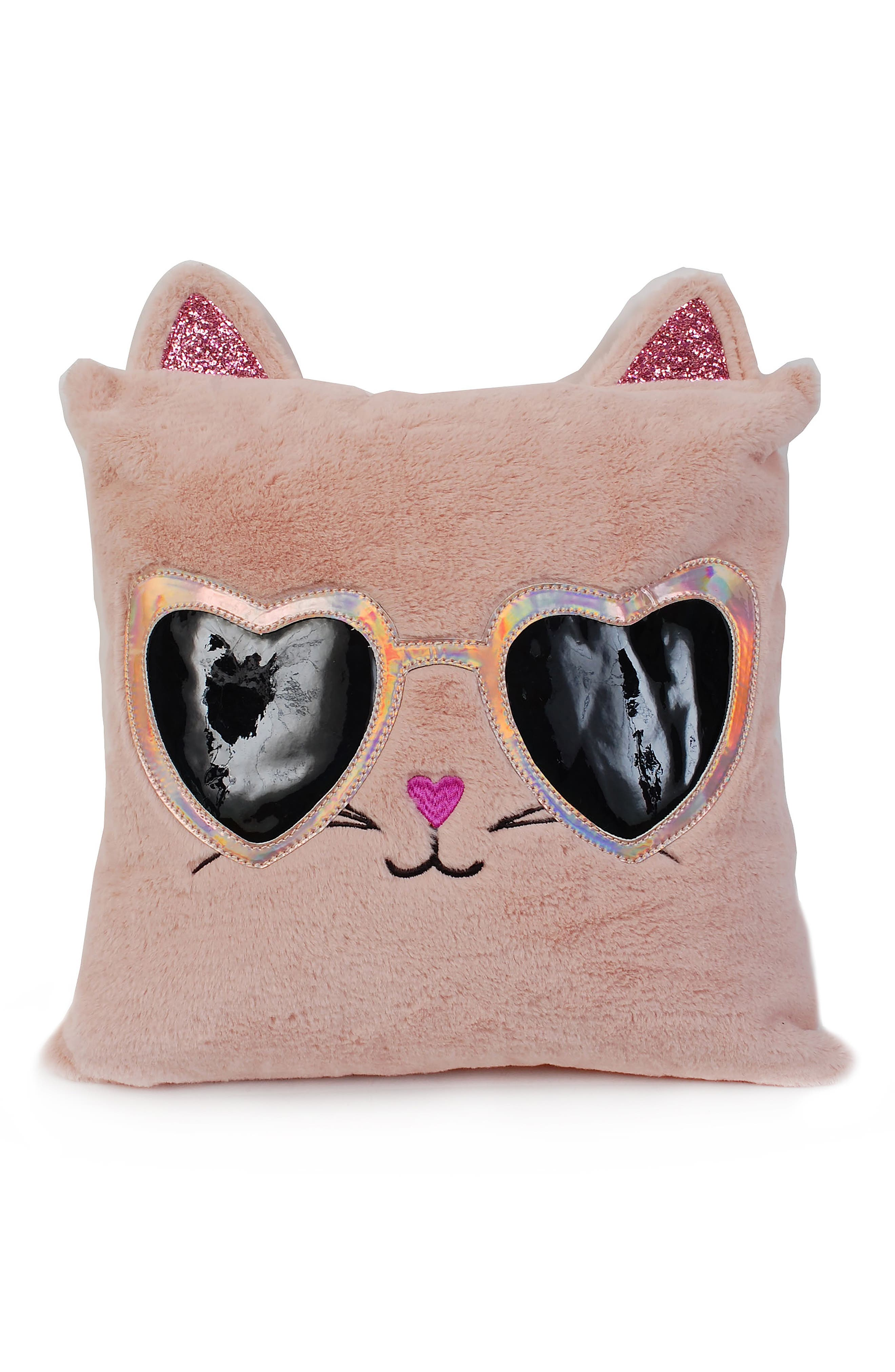 OMG Cool Kitty Fluffy Faux Fur Pillow, Main, color, BLUSH