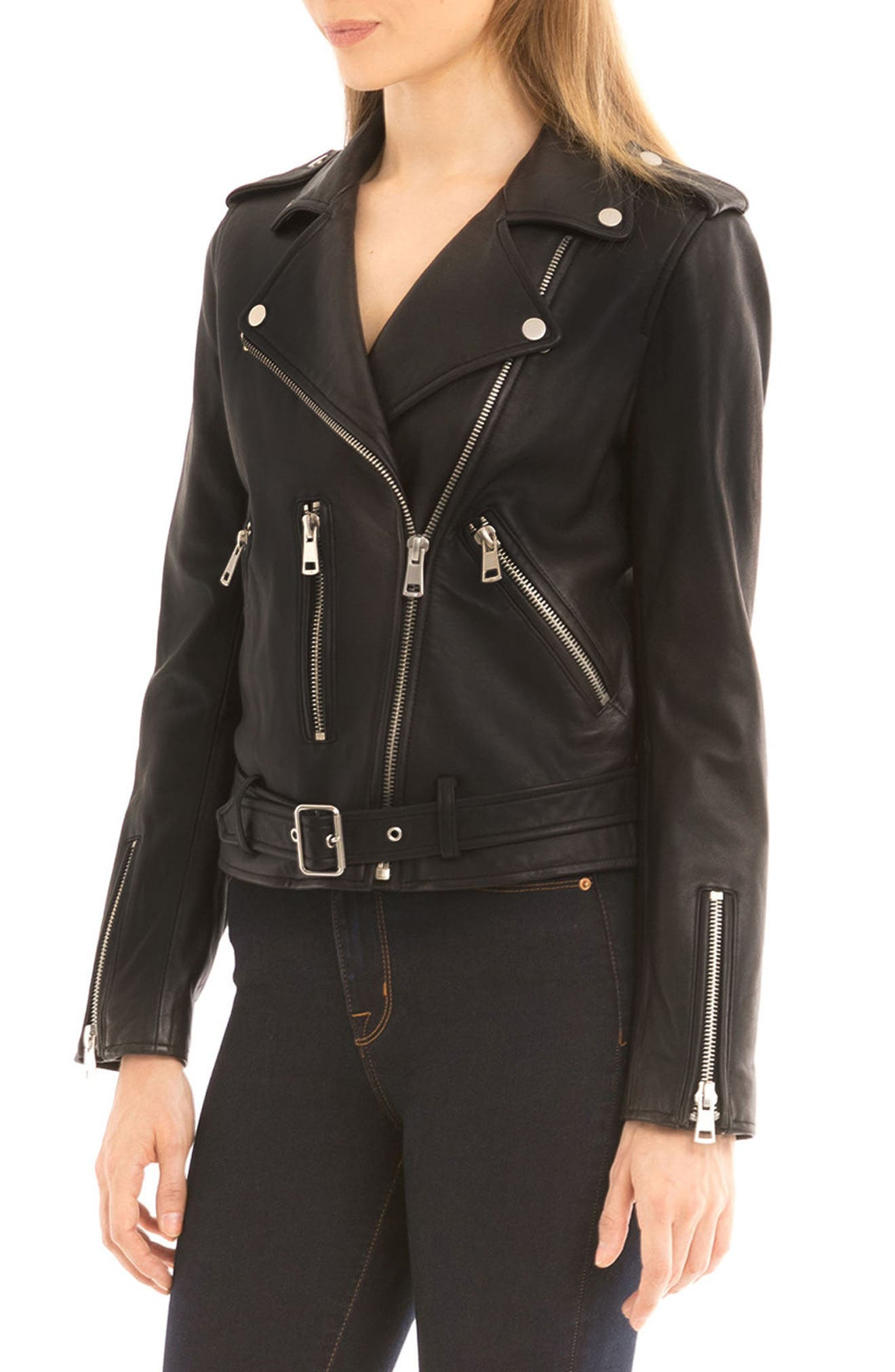 NYC  Washed Leather Biker Jacket,                             Alternate thumbnail 3, color,                             001