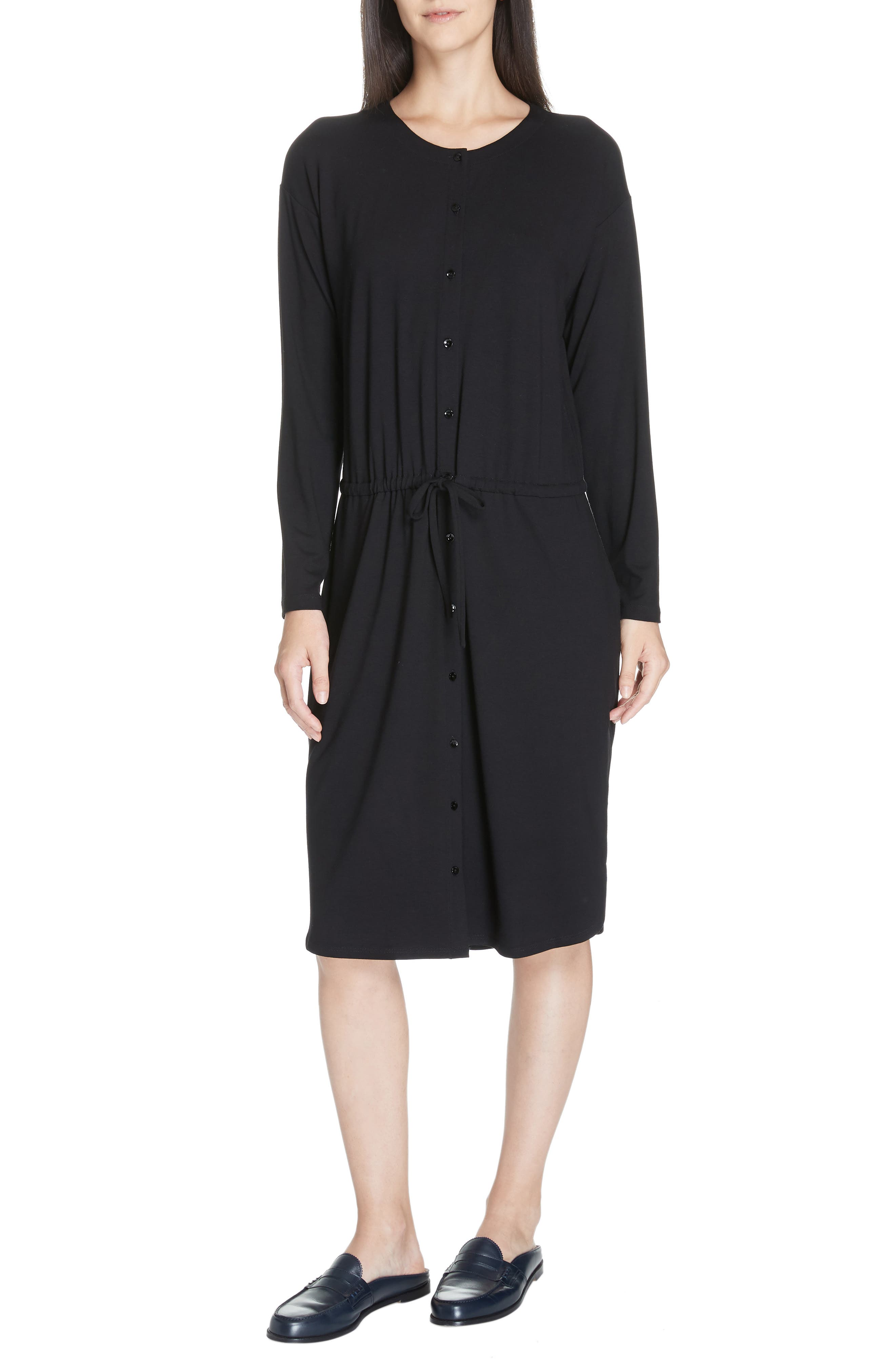 Drawstring Waist Dress,                             Main thumbnail 1, color,                             BLACK