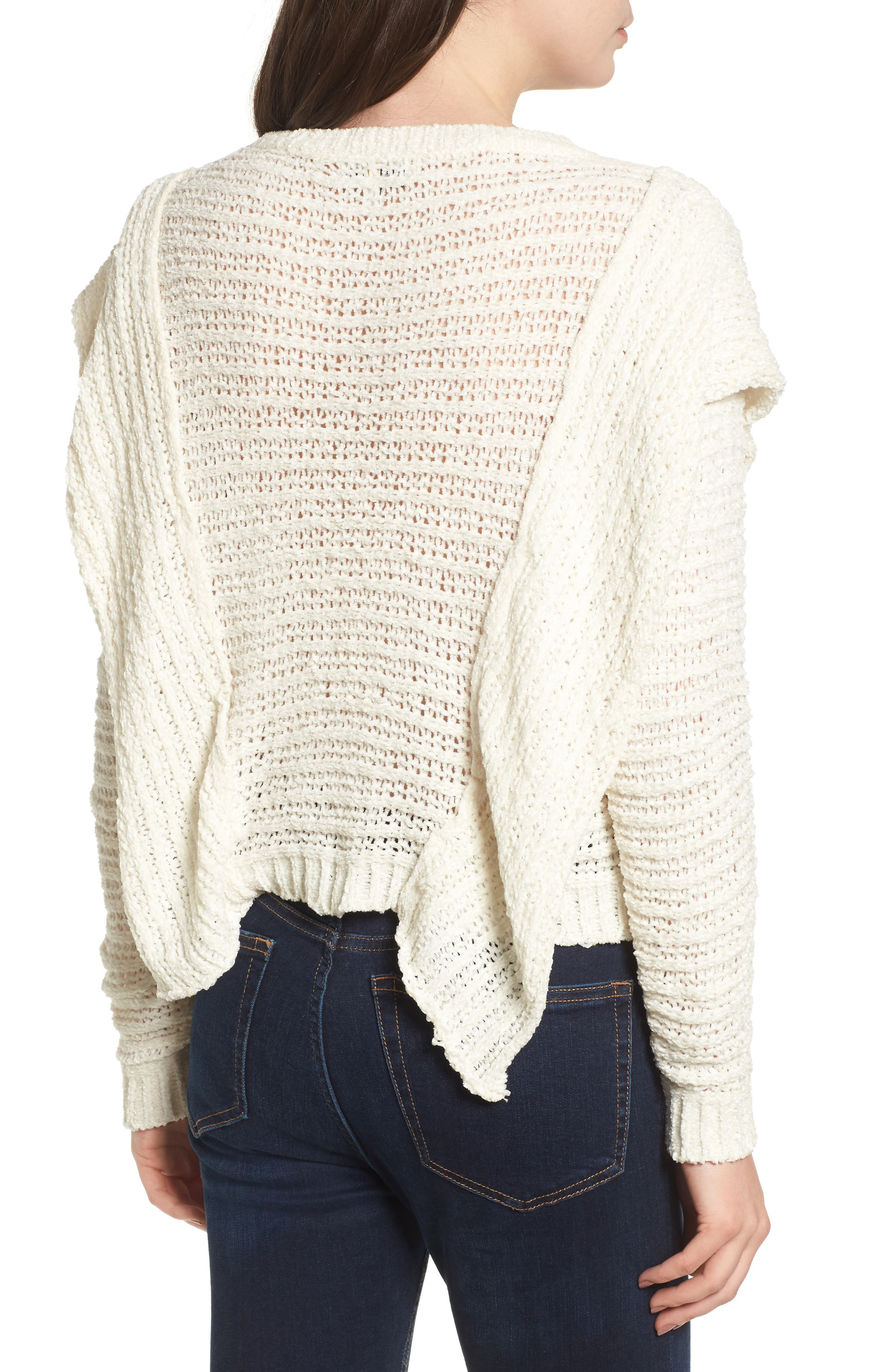 Ruffle Chenille Sweater,                             Alternate thumbnail 3, color,