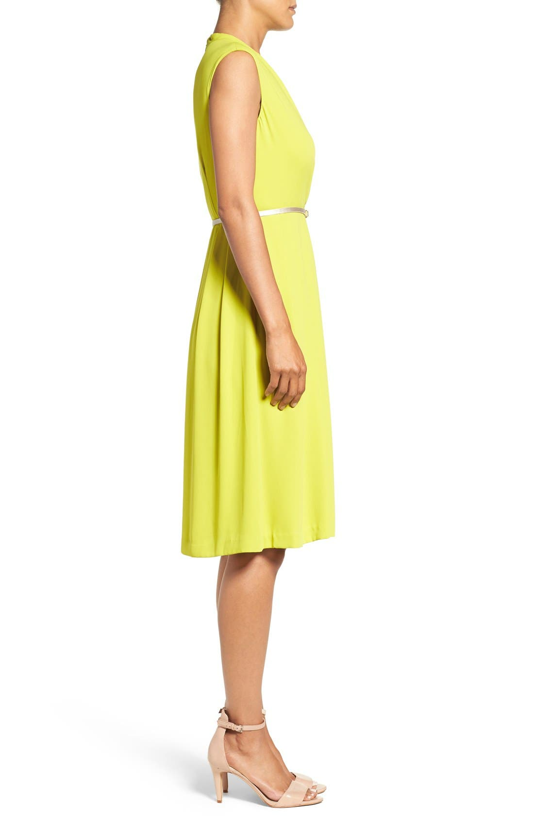Belted Woven Fit & Flare Dress,                             Alternate thumbnail 6, color,