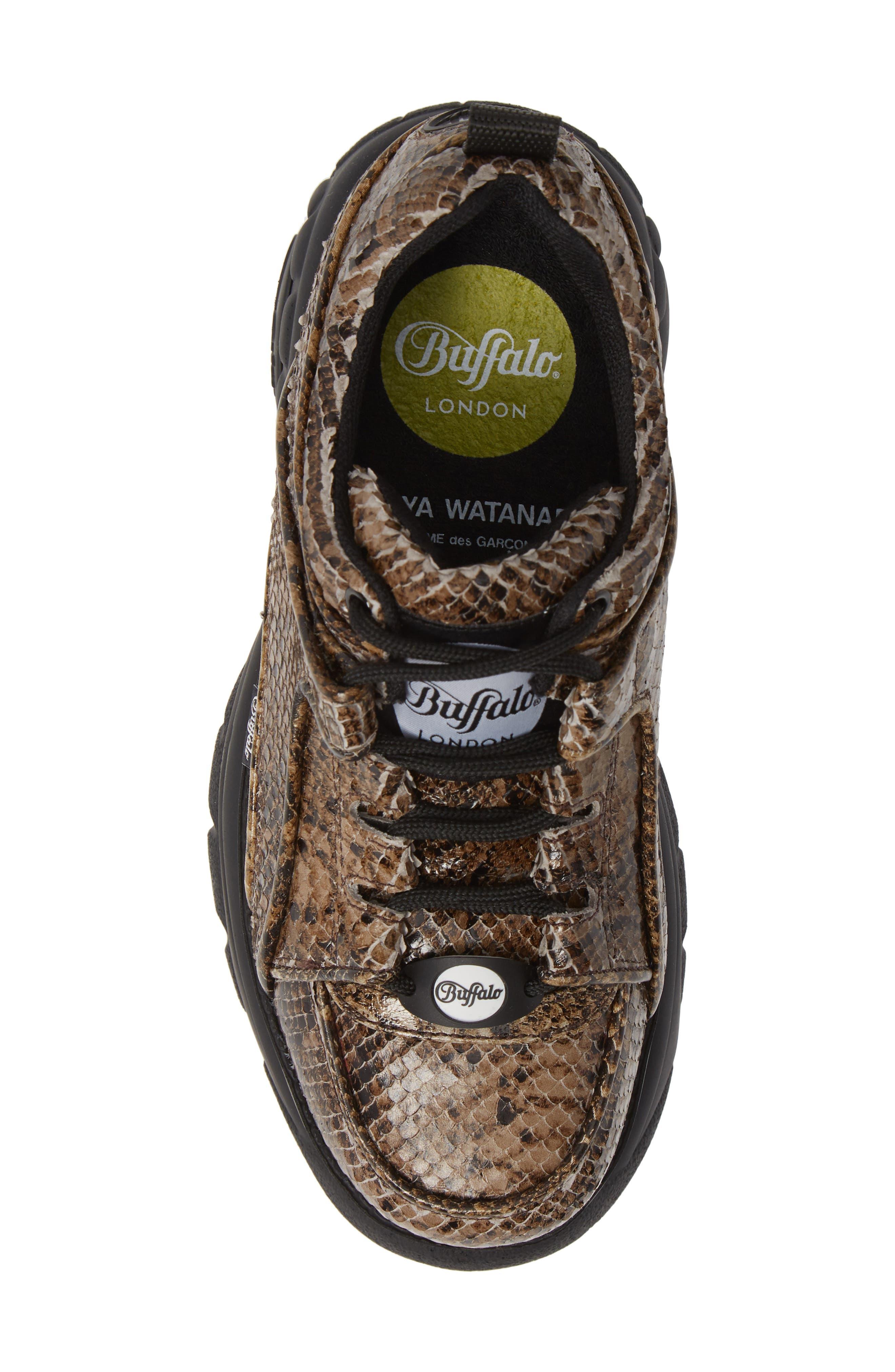 x Buffalo London Python Print Platform Sneaker,                             Alternate thumbnail 5, color,                             BEIGE