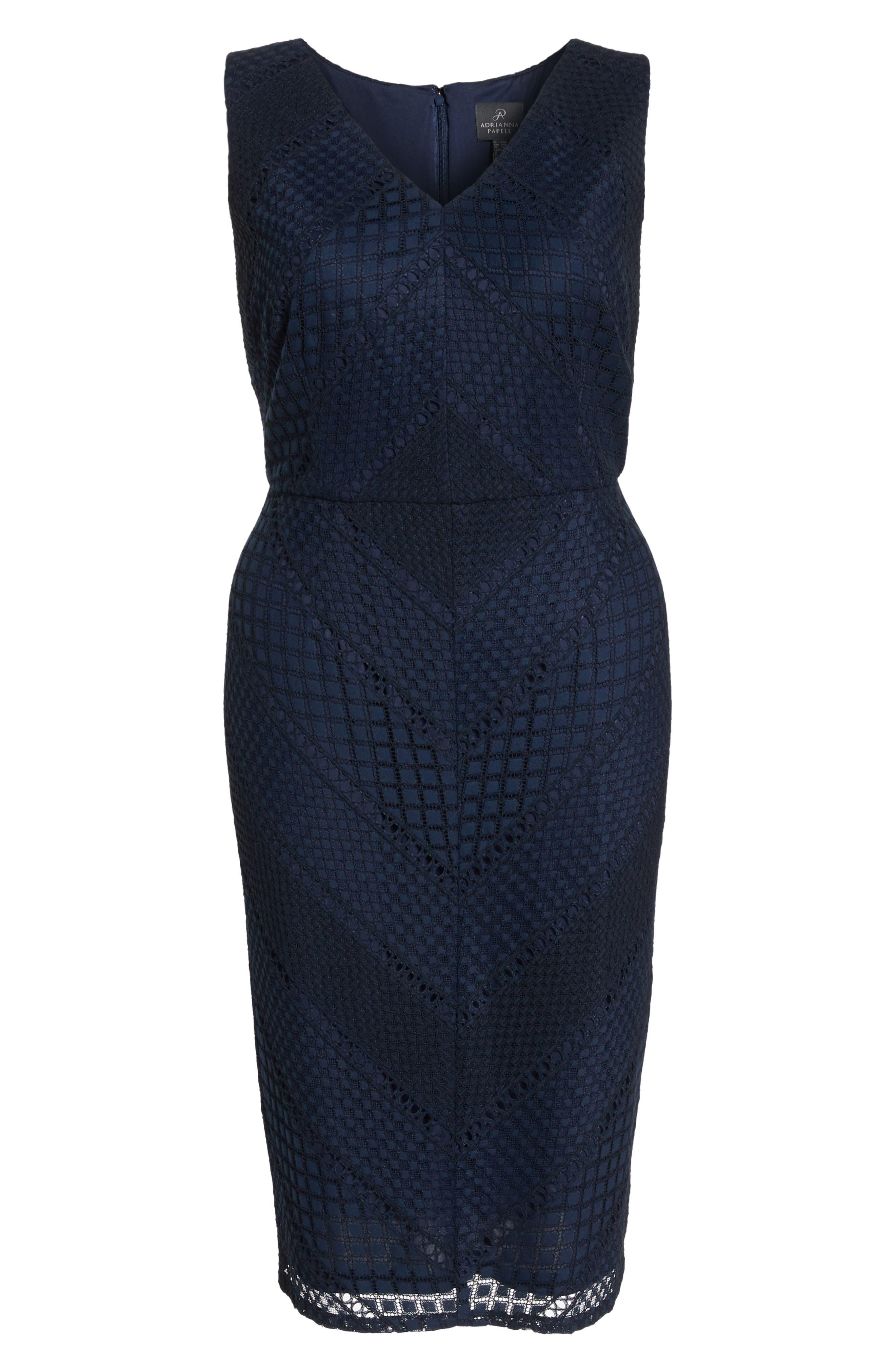 Vintage Stripe Lace Sheath Dress,                             Alternate thumbnail 7, color,                             486