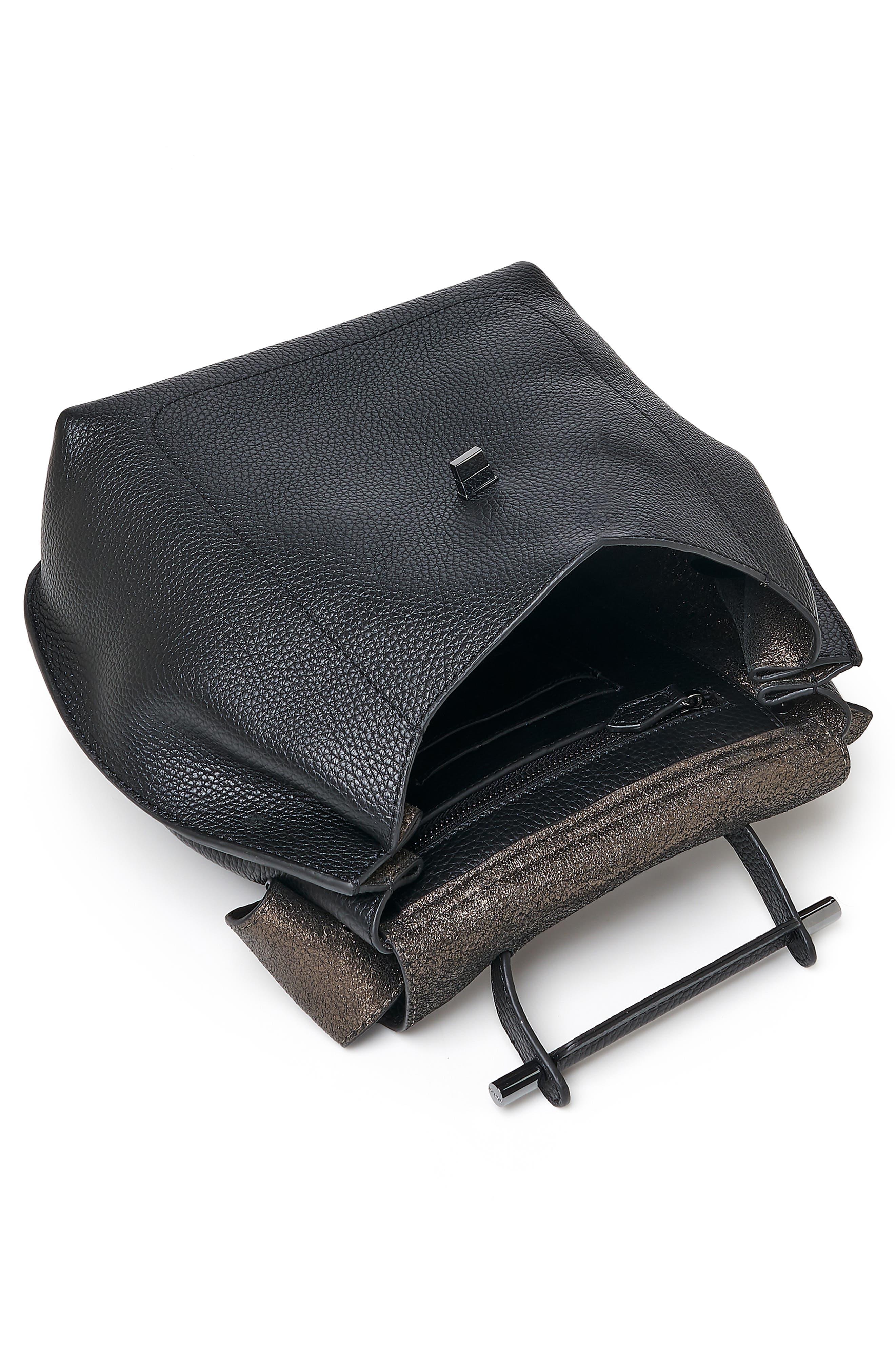 Valentina Wrap Leather Backpack,                             Alternate thumbnail 3, color,                             BLACK