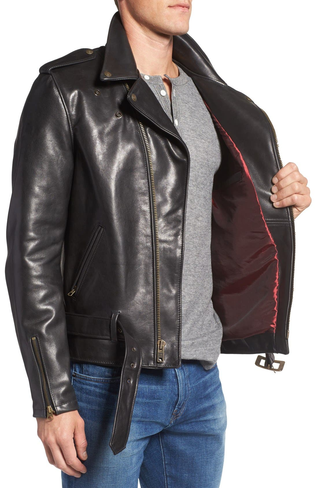 Waxy Leather Moto Jacket,                             Alternate thumbnail 3, color,                             BLACK