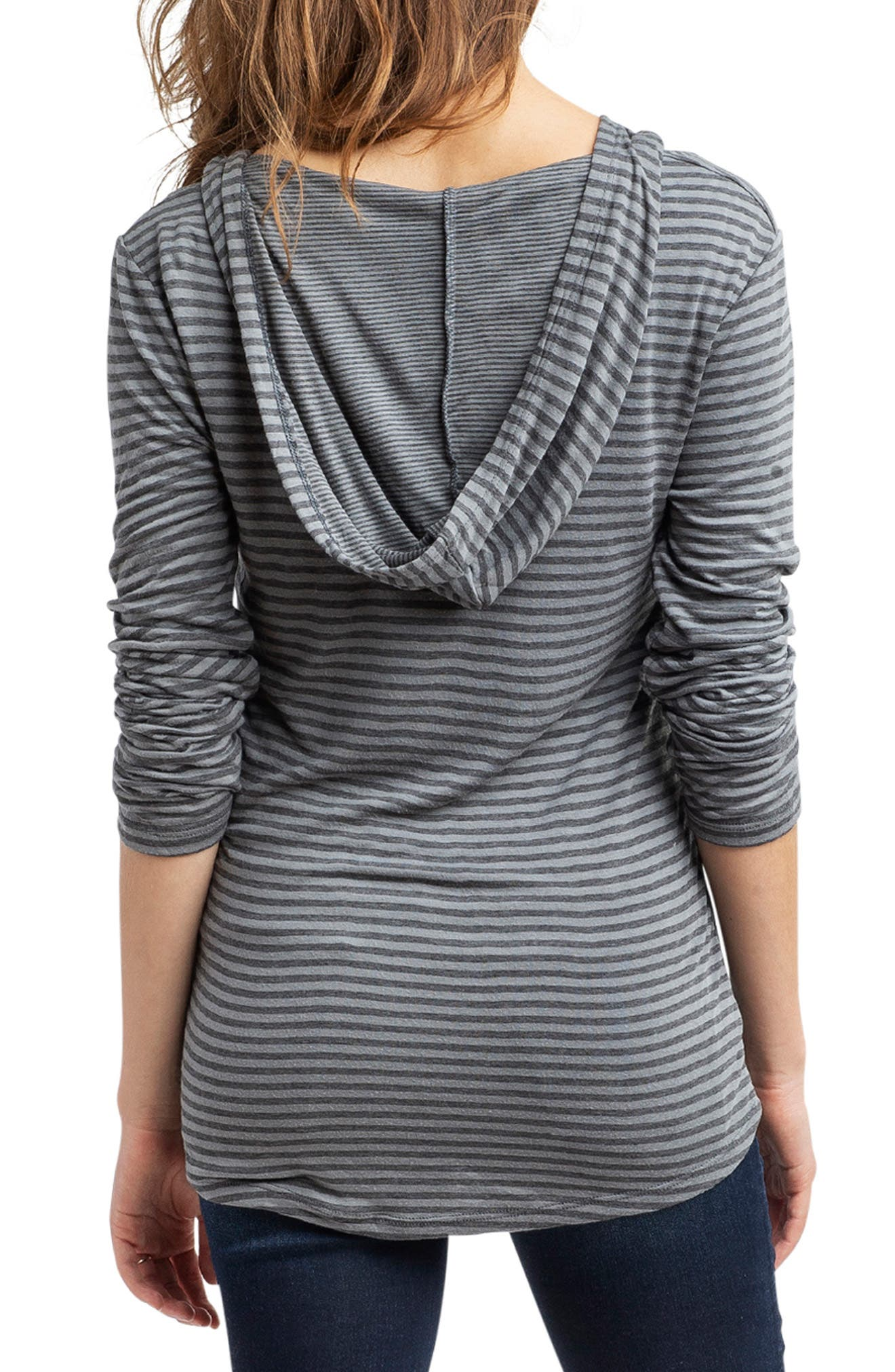 'Aria' Maternity Hoodie,                             Alternate thumbnail 2, color,                             GRAY SMALL STRIPE