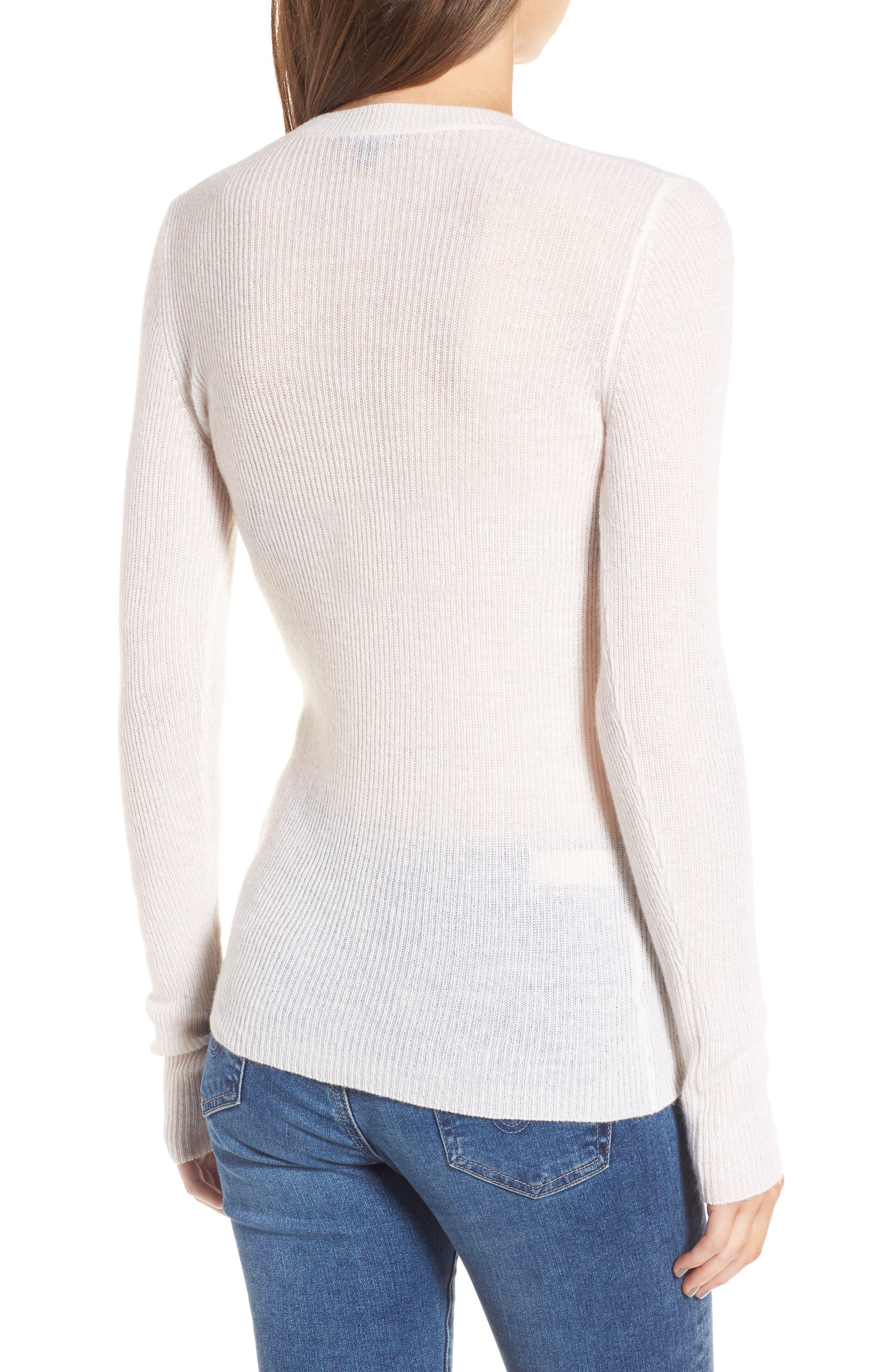 Cashmere V-Neck Sweater,                             Alternate thumbnail 2, color,                             100