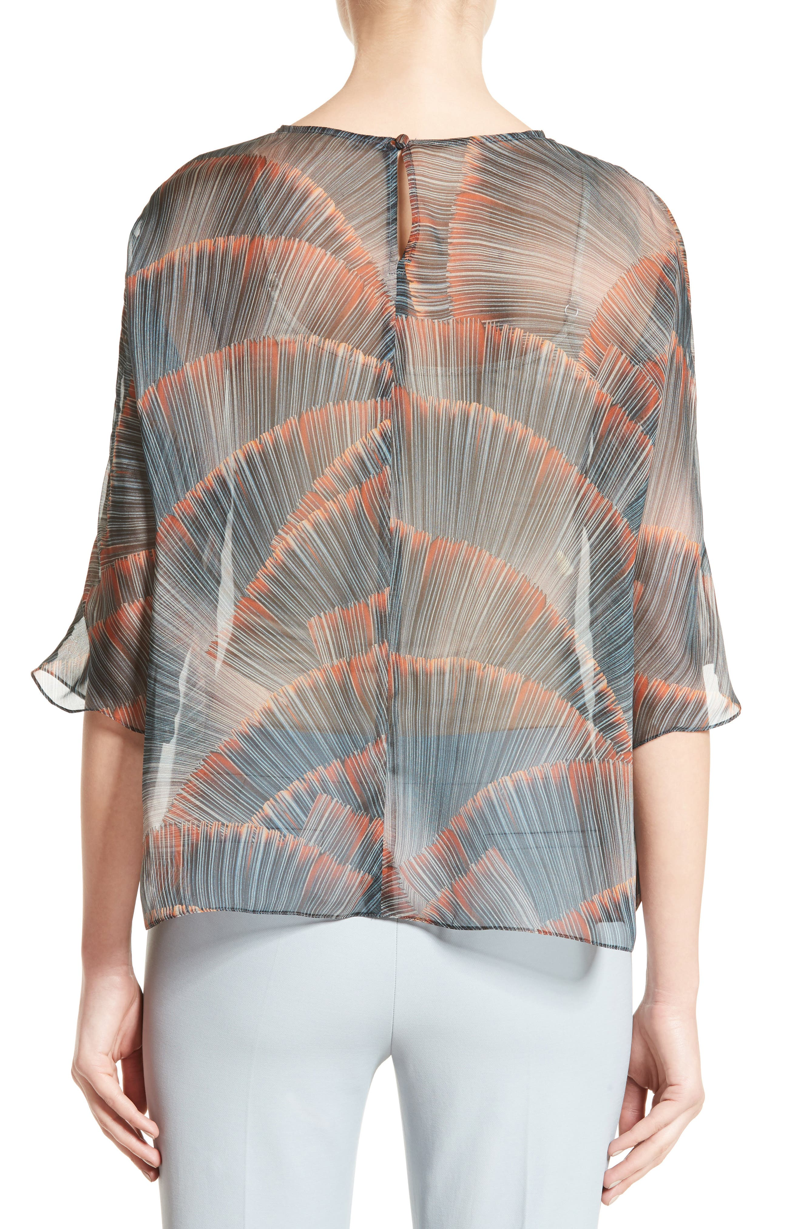 Feather Print Mulberry Silk Blouse,                             Alternate thumbnail 2, color,