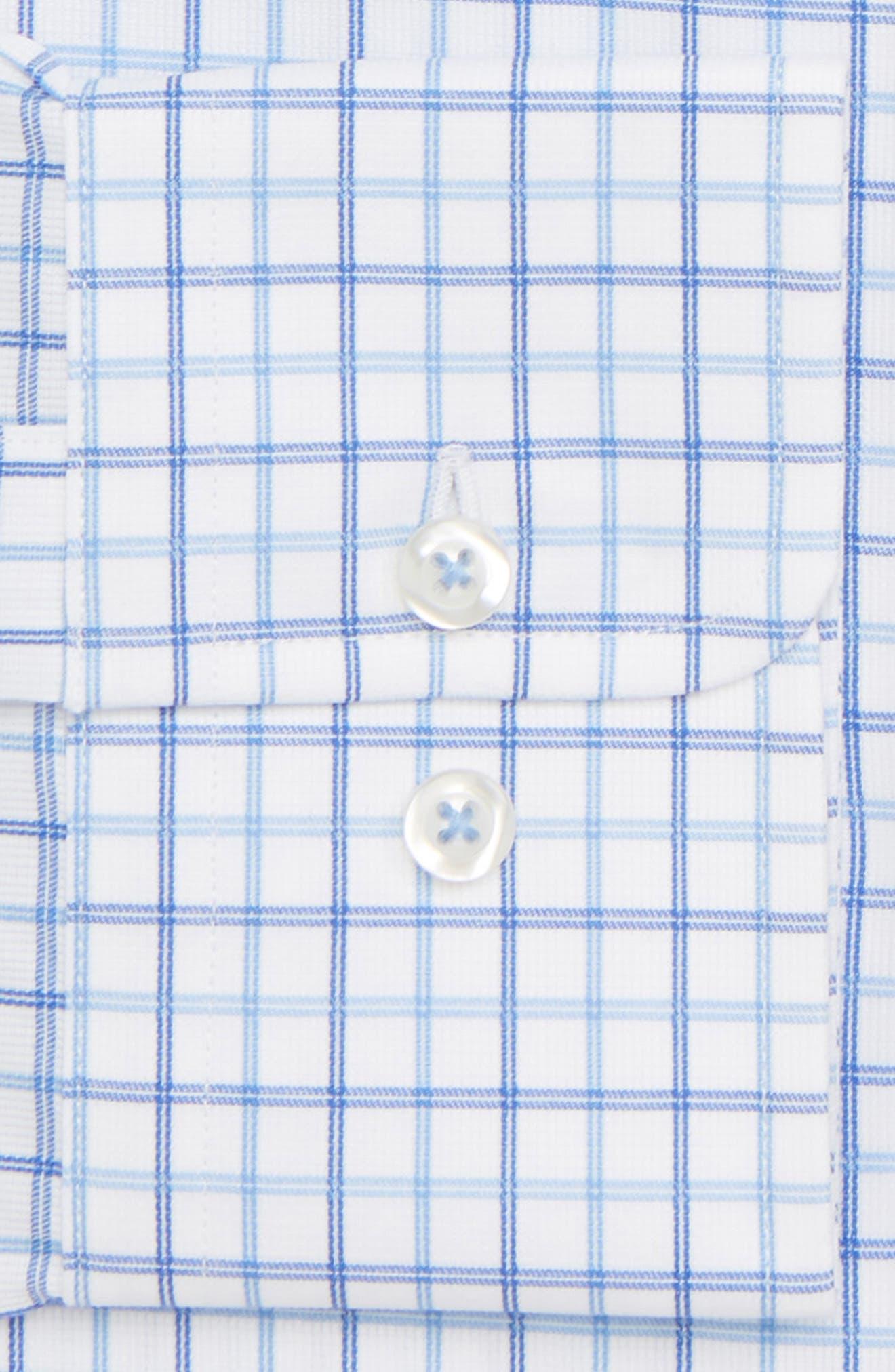 Trim Fit Check Dress Shirt,                             Alternate thumbnail 6, color,                             BLUE
