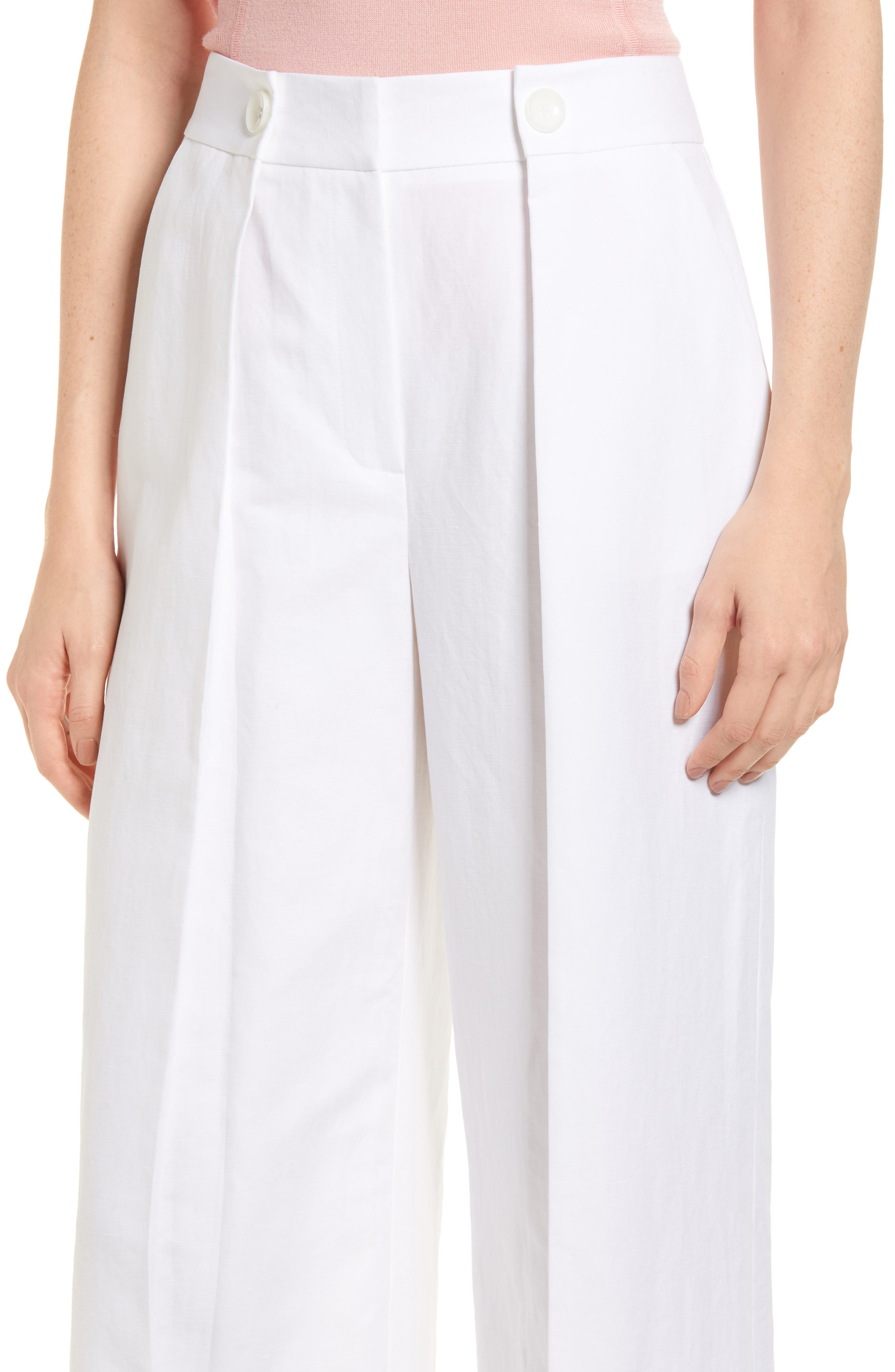 Pleated Wide Leg Linen & Cotton Pants,                             Alternate thumbnail 4, color,                             100
