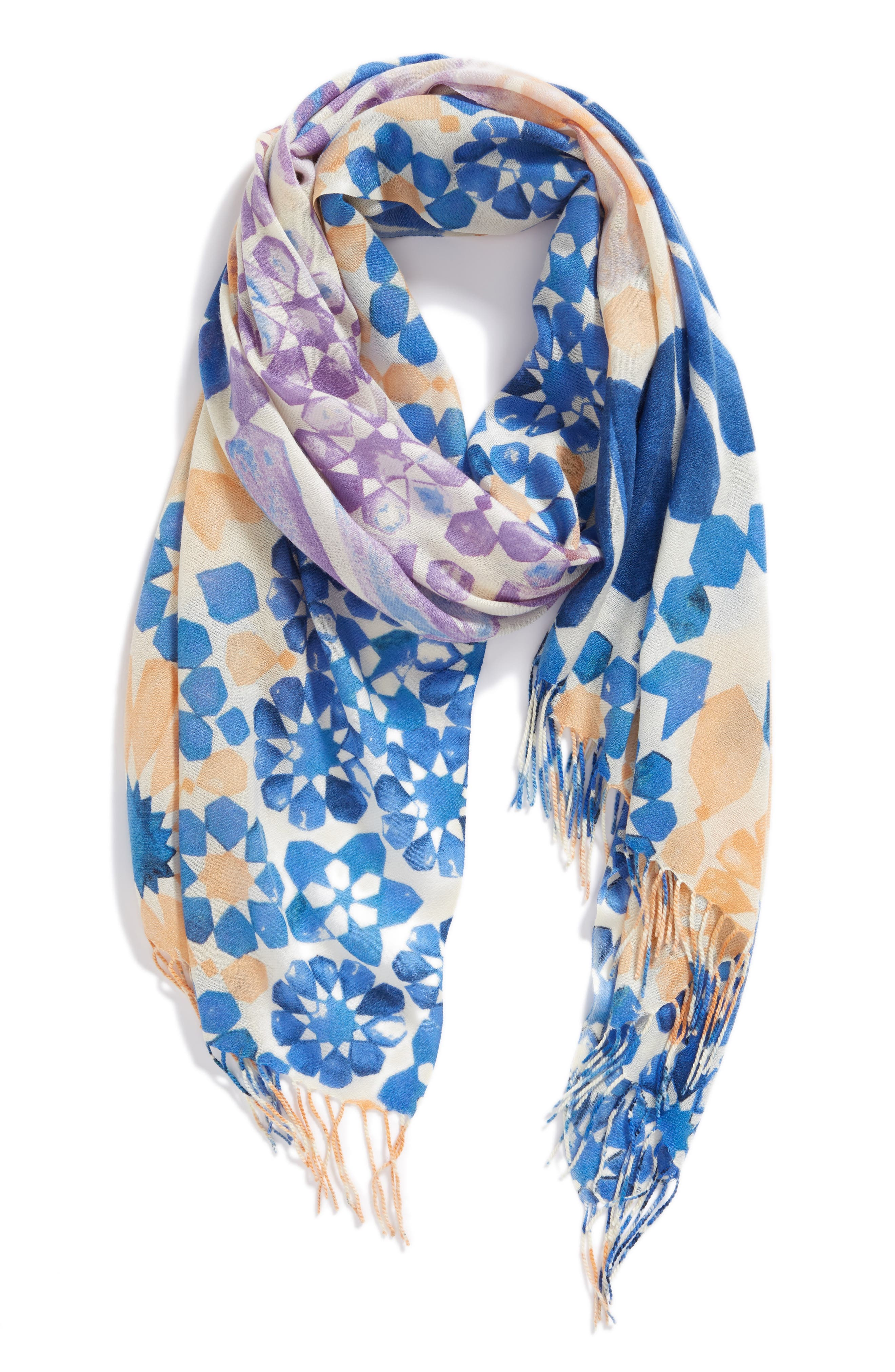 Tissue Print Wool & Cashmere Wrap Scarf,                             Alternate thumbnail 48, color,