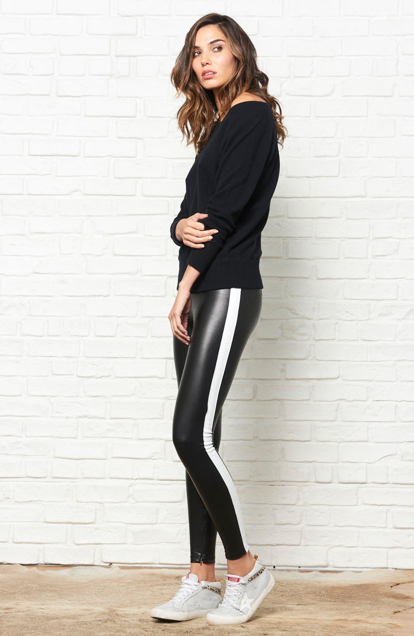 Tuxedo Stripe Zip Faux Leather Leggings,                             Alternate thumbnail 11, color,