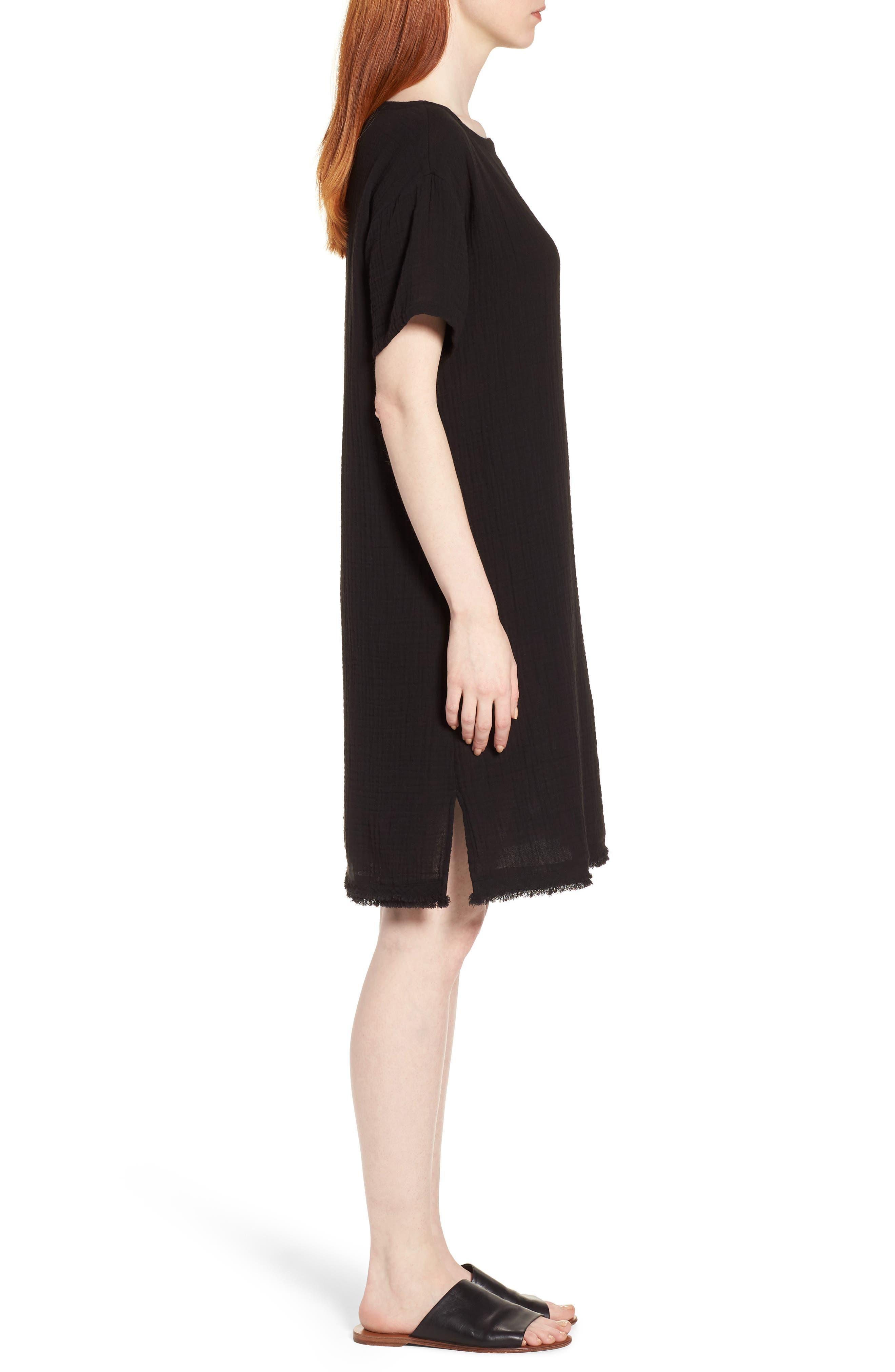 Organic Cotton Shift Dress,                             Alternate thumbnail 3, color,                             001
