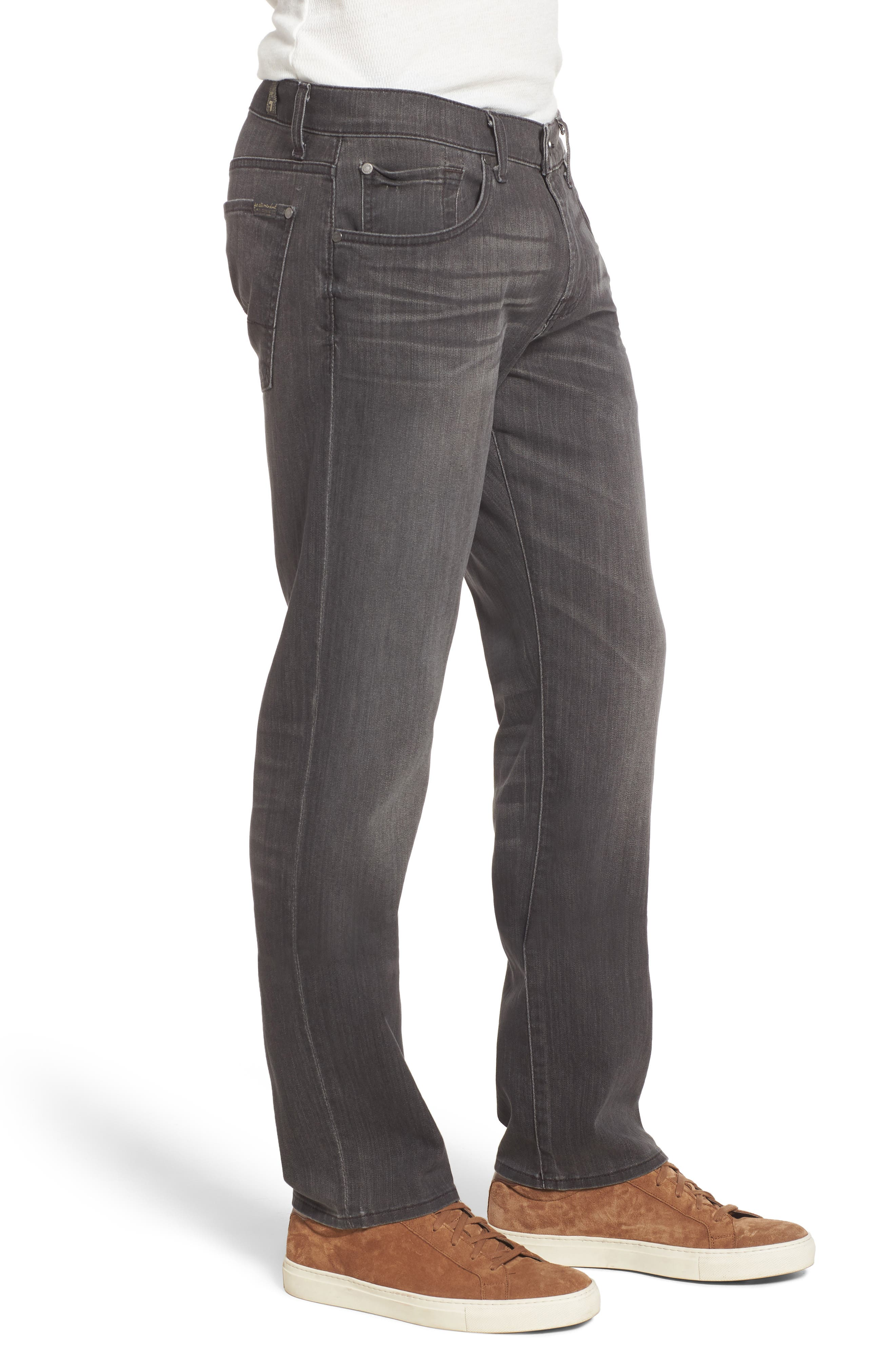 7 FOR ALL MANKIND<SUP>®</SUP>,                             Straight Leg Jeans,                             Alternate thumbnail 3, color,                             001