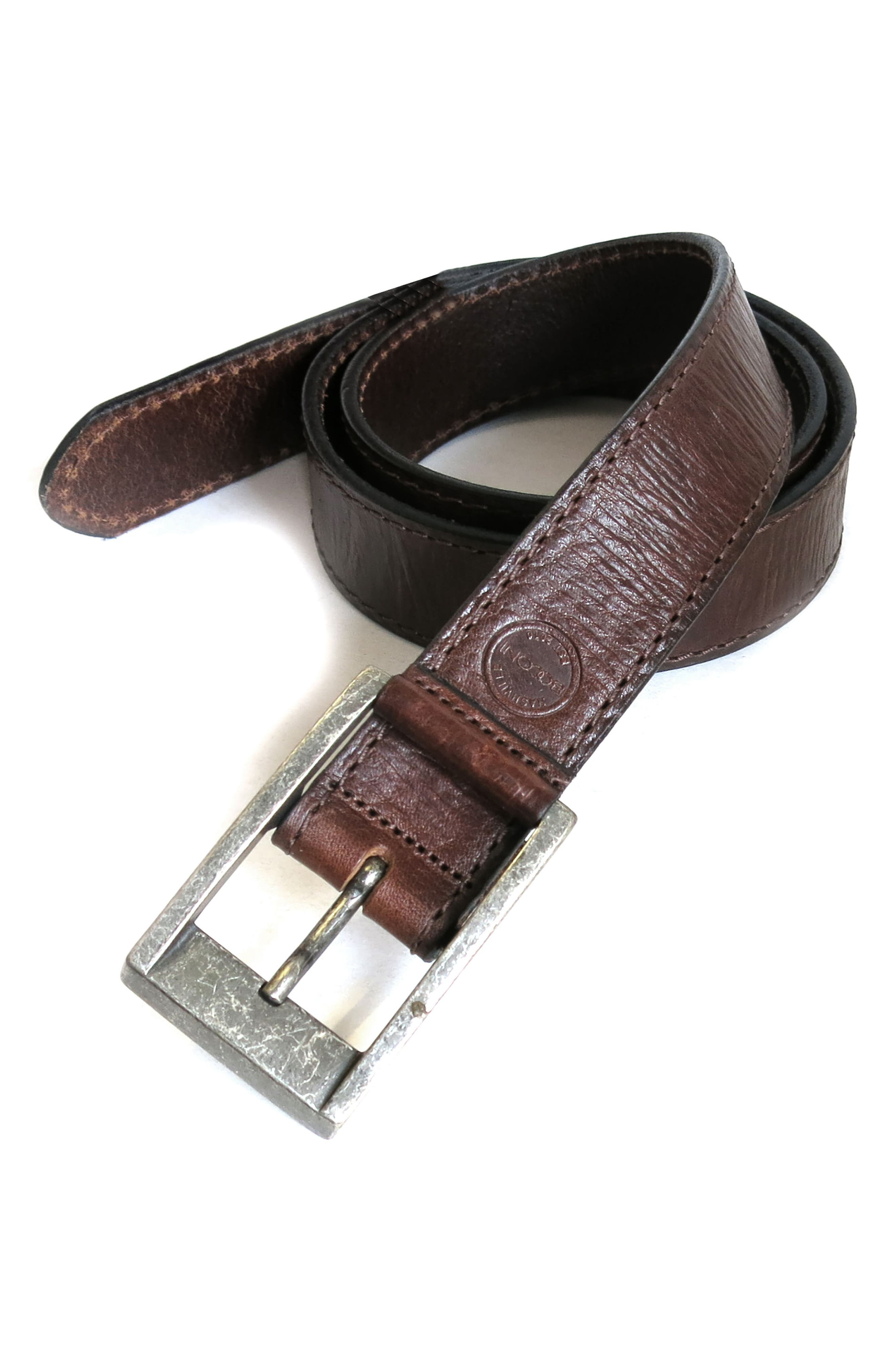 BOCONI,                             Burnished Calfskin Leather Belt,                             Alternate thumbnail 4, color,                             CHESTNUT
