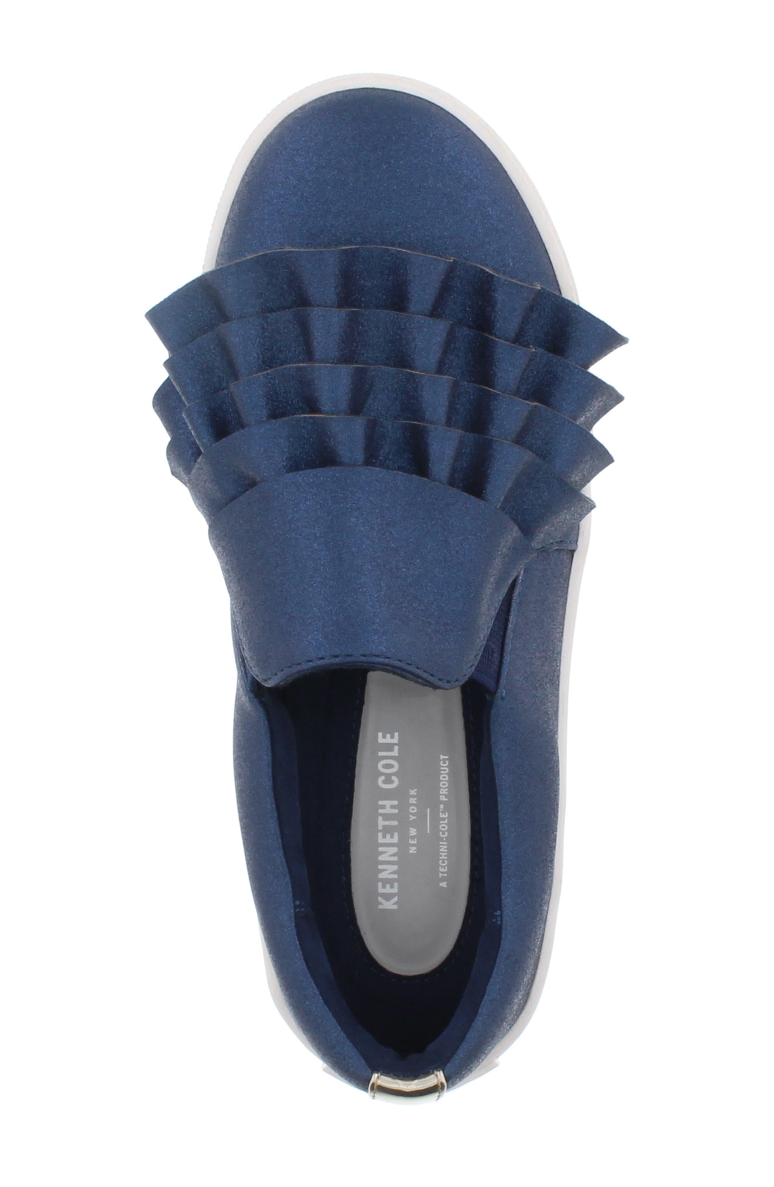Shimmery Kam Ruffle Slip-On Sneaker,                             Alternate thumbnail 5, color,                             NAVY