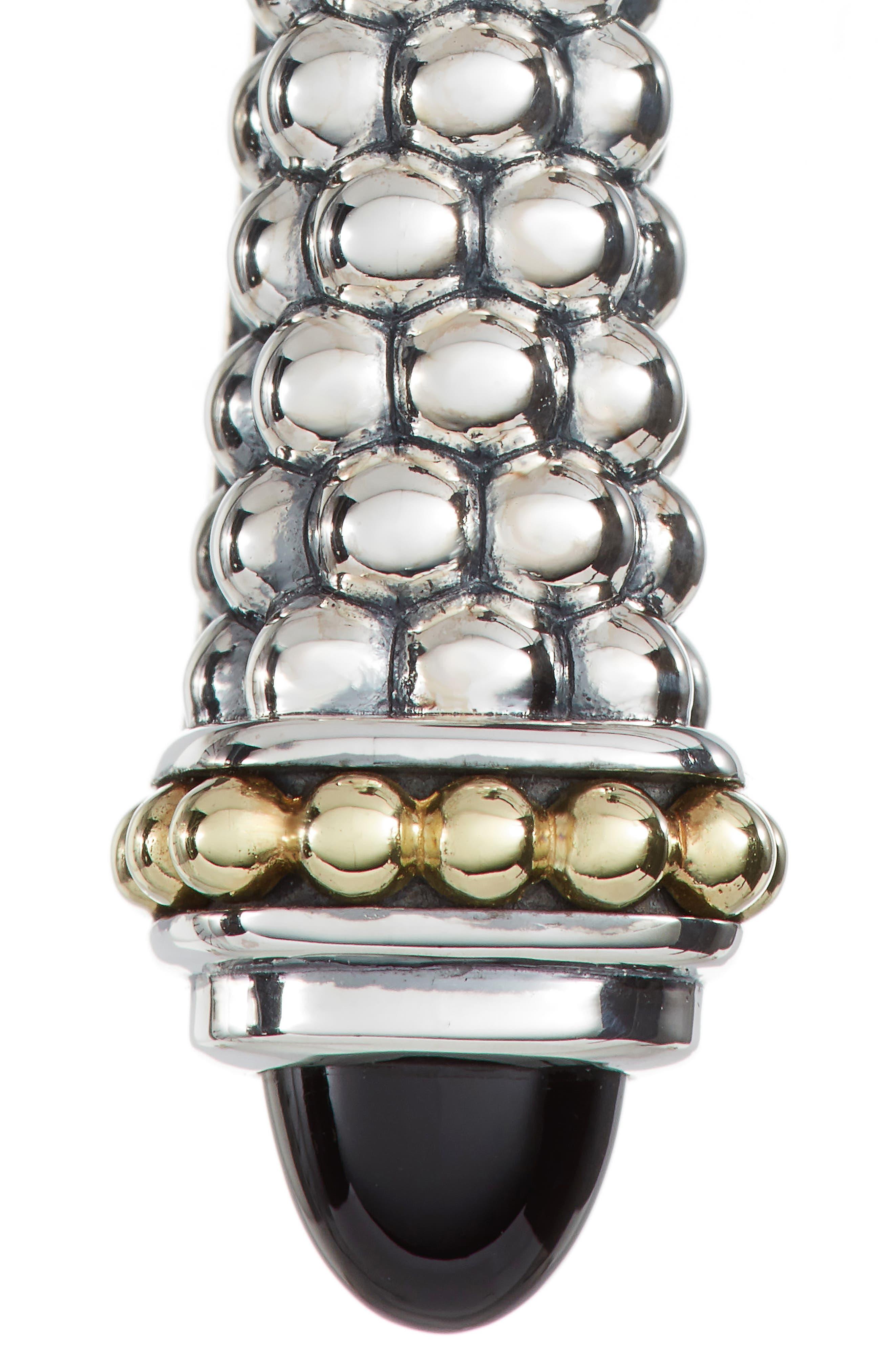 Signature Caviar Stone Cap Drop Earrings,                             Alternate thumbnail 6, color,                             SILVER/ BLACK ONYX