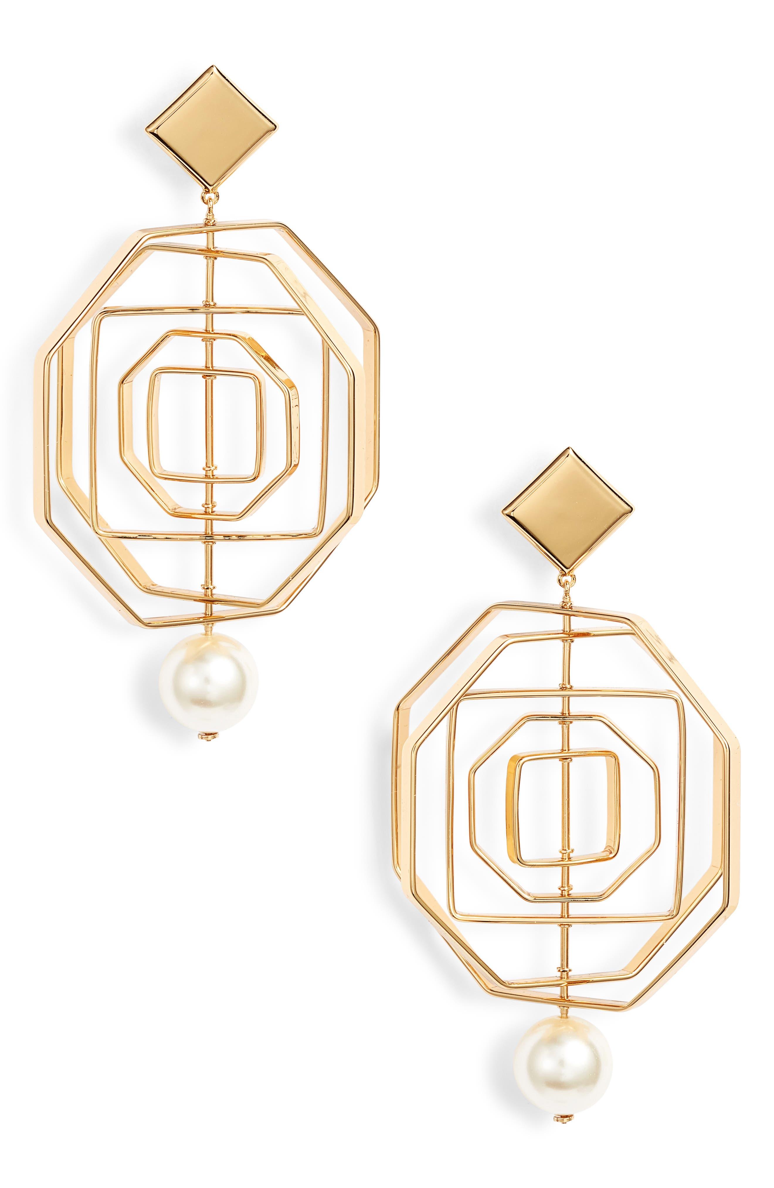 Geo Imitation Pearl Statement Earrings,                             Main thumbnail 1, color,                             710