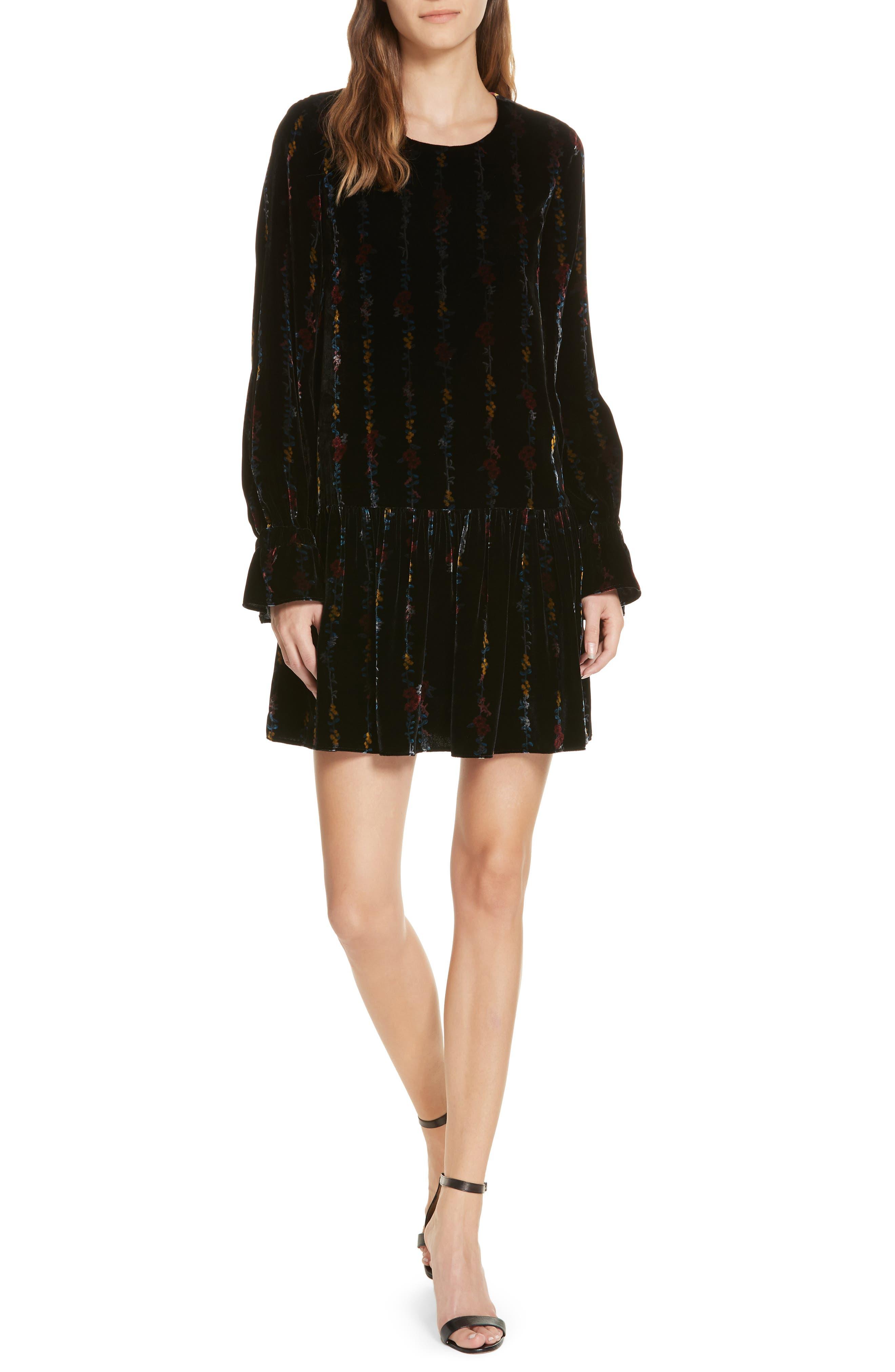 Milly Winter Floral Quinn Velvet Dress, Black