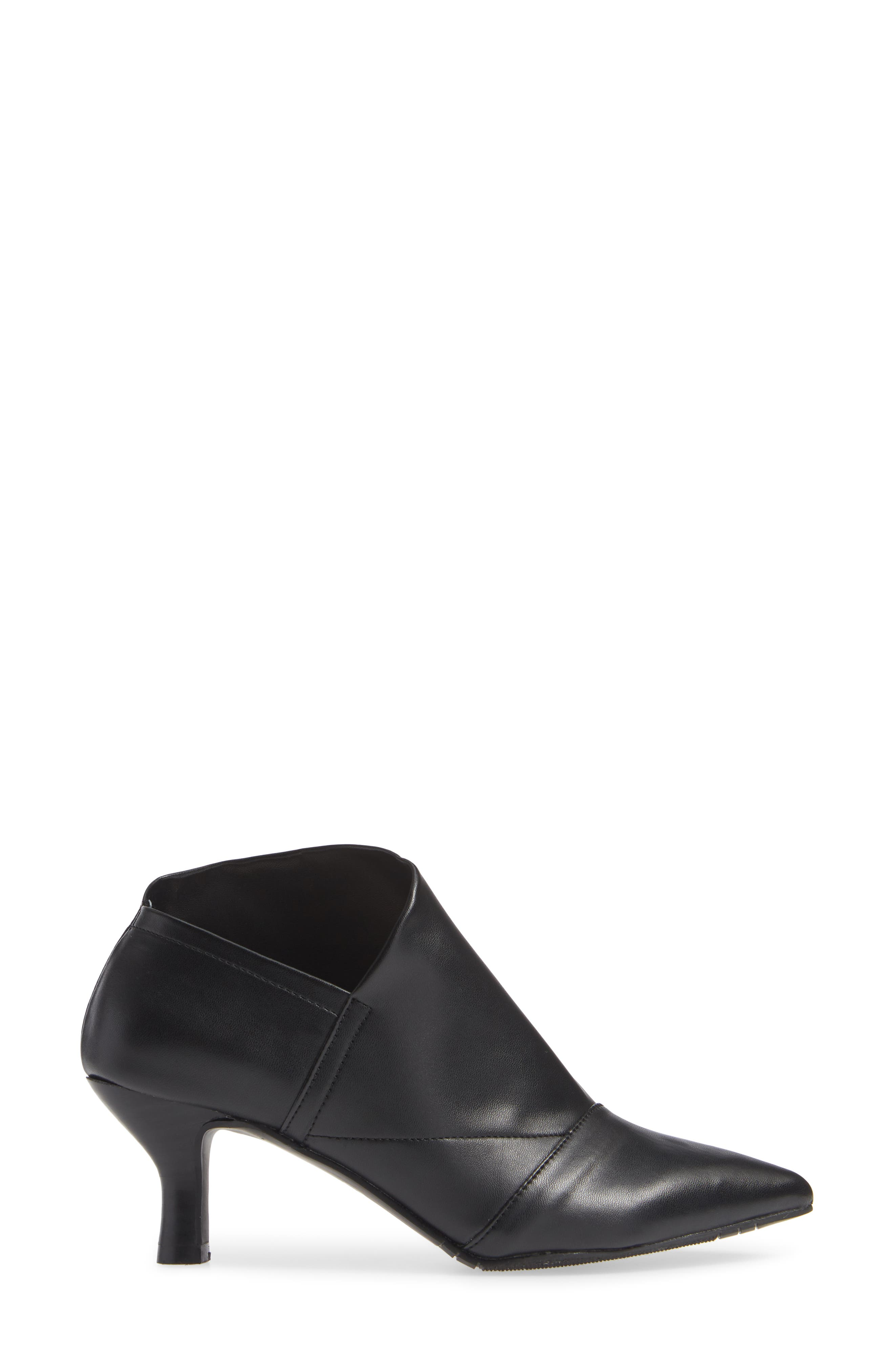 Hayes Pointy Toe Bootie,                             Alternate thumbnail 3, color,                             BLACK LEATHER
