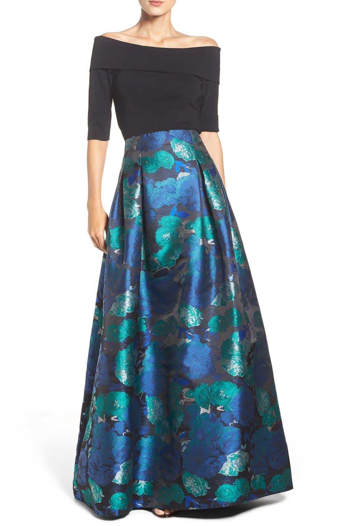 Floral Jacquard Ball Skirt,                             Alternate thumbnail 2, color,                             442