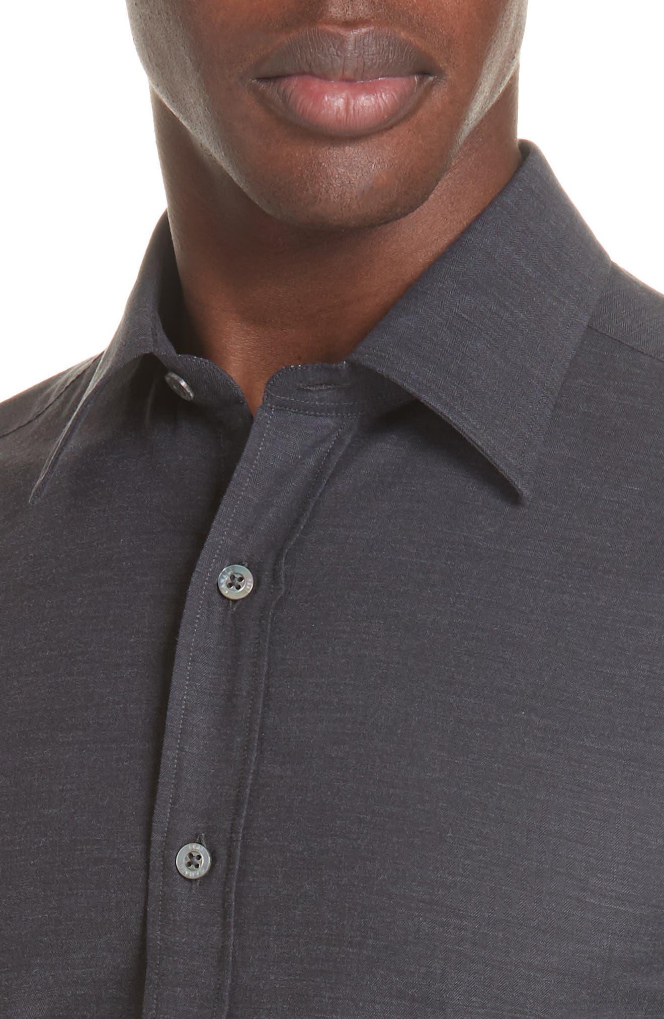 Classic Fit Herringbone Sport Shirt,                             Alternate thumbnail 2, color,                             CHARCOAL