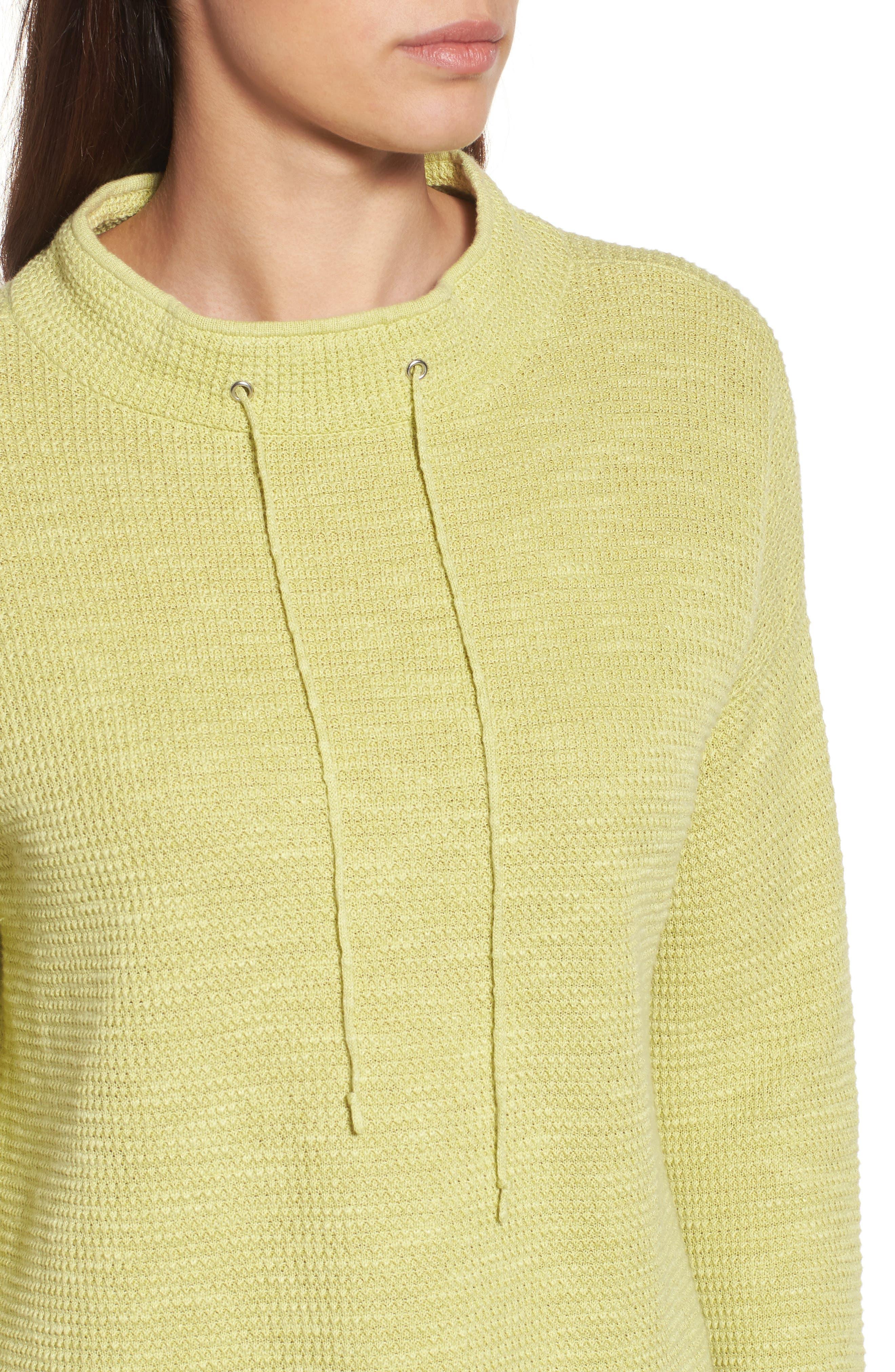 Drawstring Neck Organic Linen & Cotton Top,                             Alternate thumbnail 11, color,