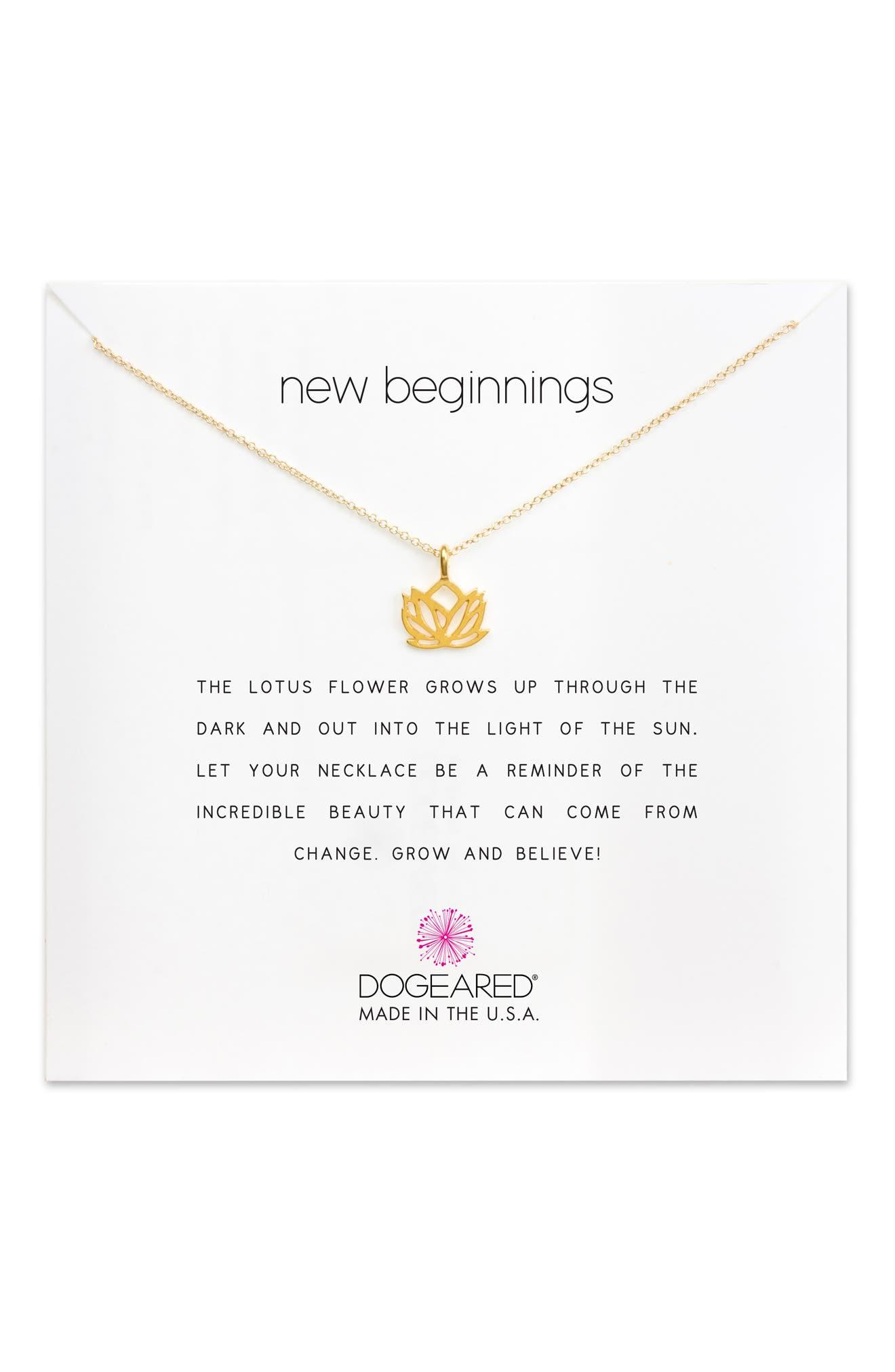 Lotus Reminder Pendant Necklace,                             Alternate thumbnail 5, color,                             GOLD