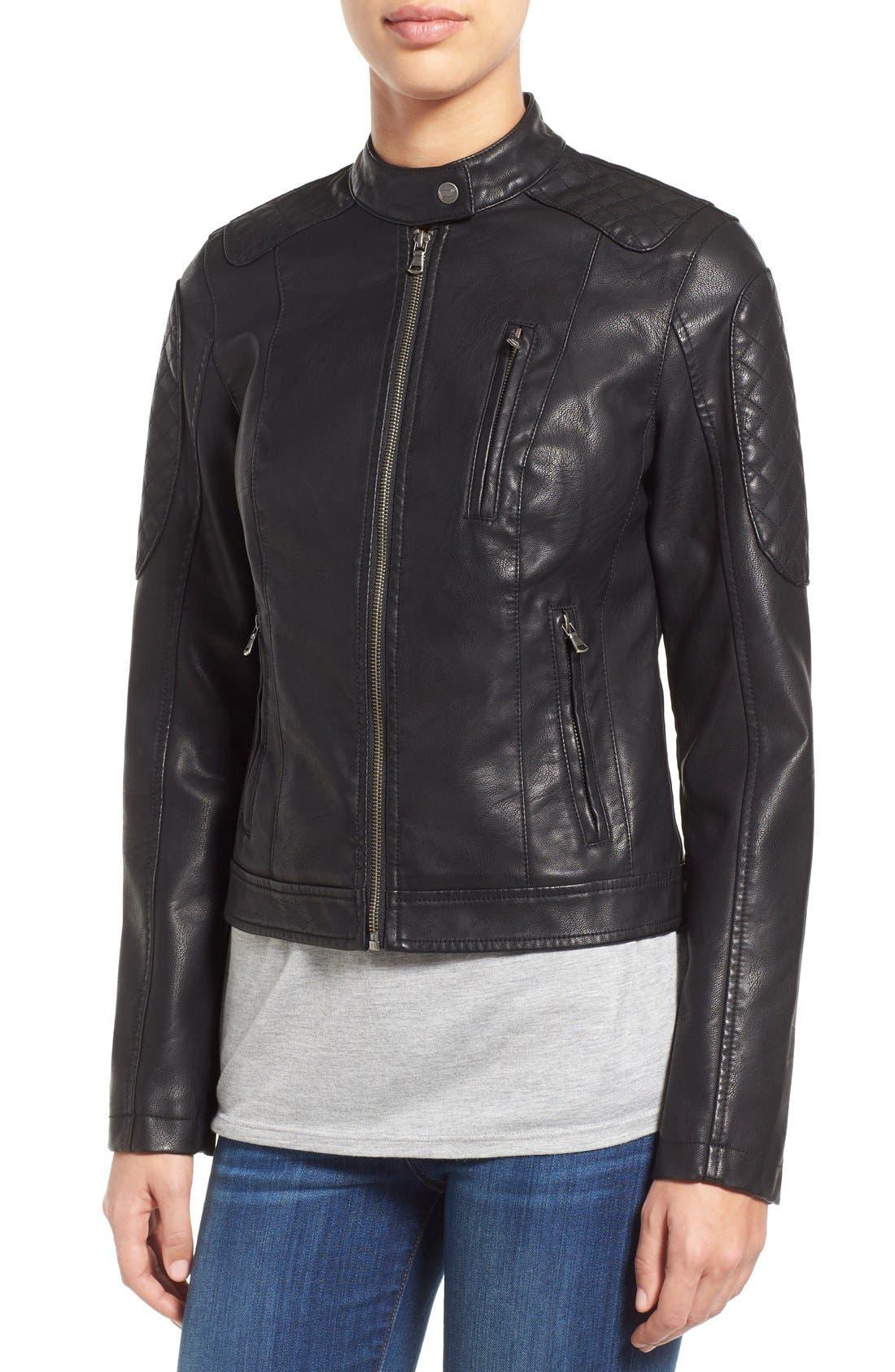 Quilt Detail Faux Leather Racer Jacket,                             Alternate thumbnail 3, color,                             001