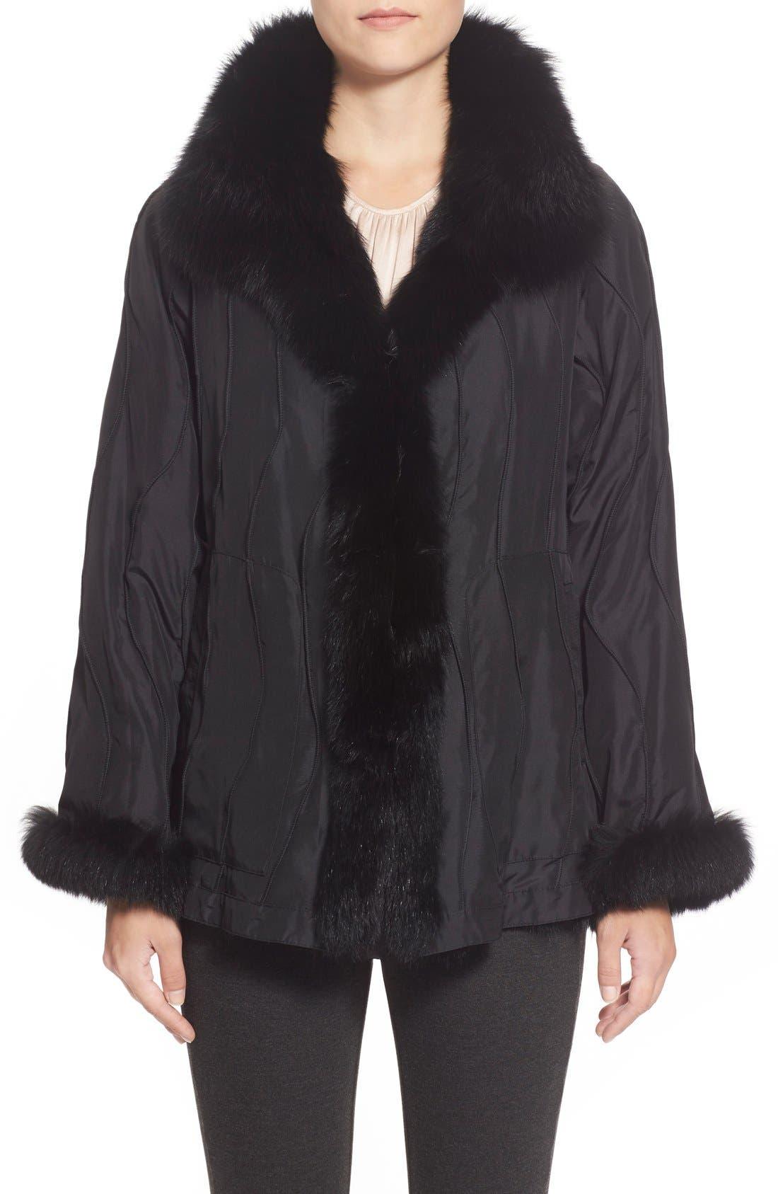 GeorgeSimonton Reversible Silk & Genuine Fox Fur Topper,                             Main thumbnail 3, color,