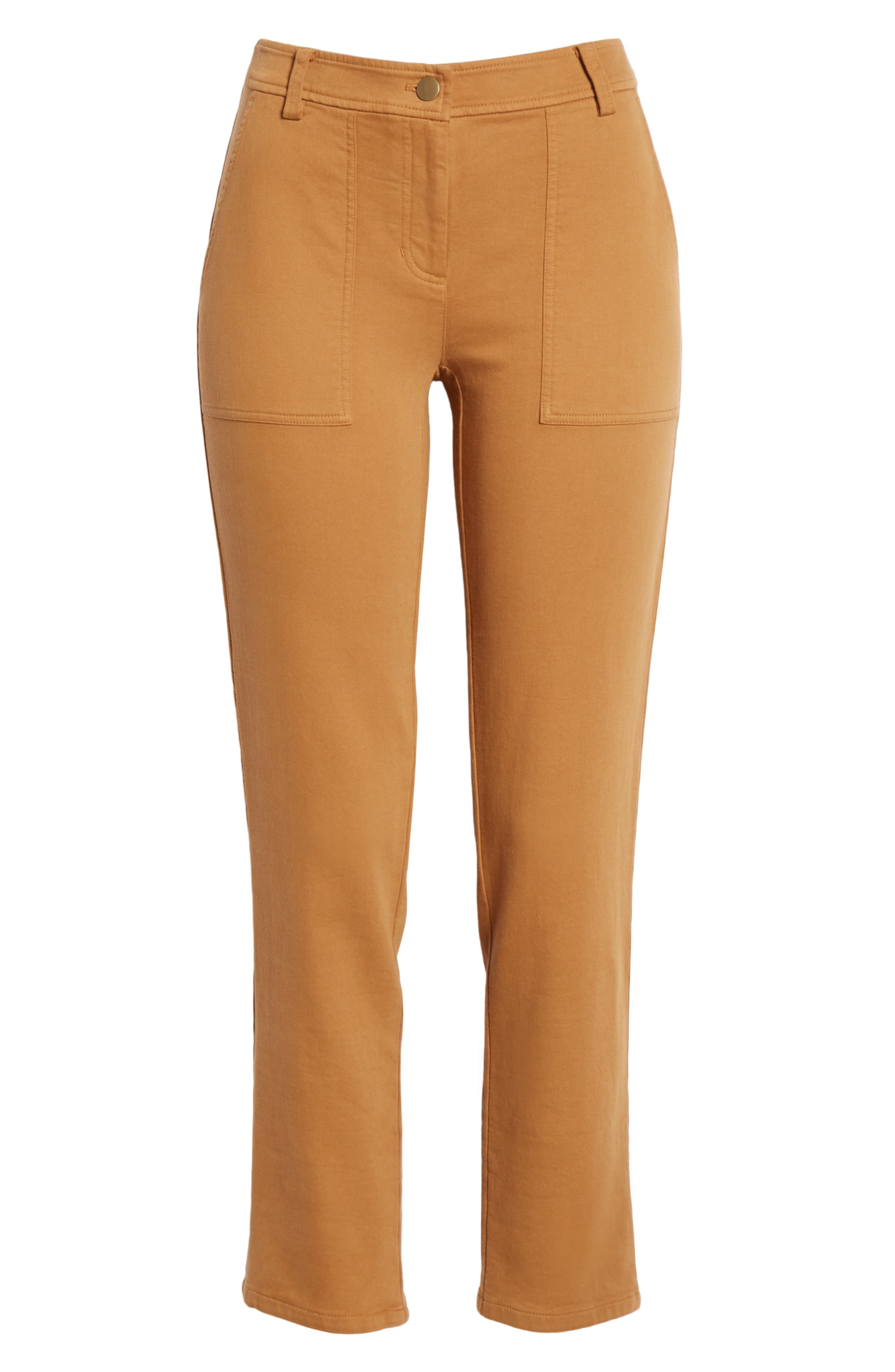 EILEEN FISHER,                             Slim Stretch Cotton Pants,                             Alternate thumbnail 7, color,                             DARK CLAY