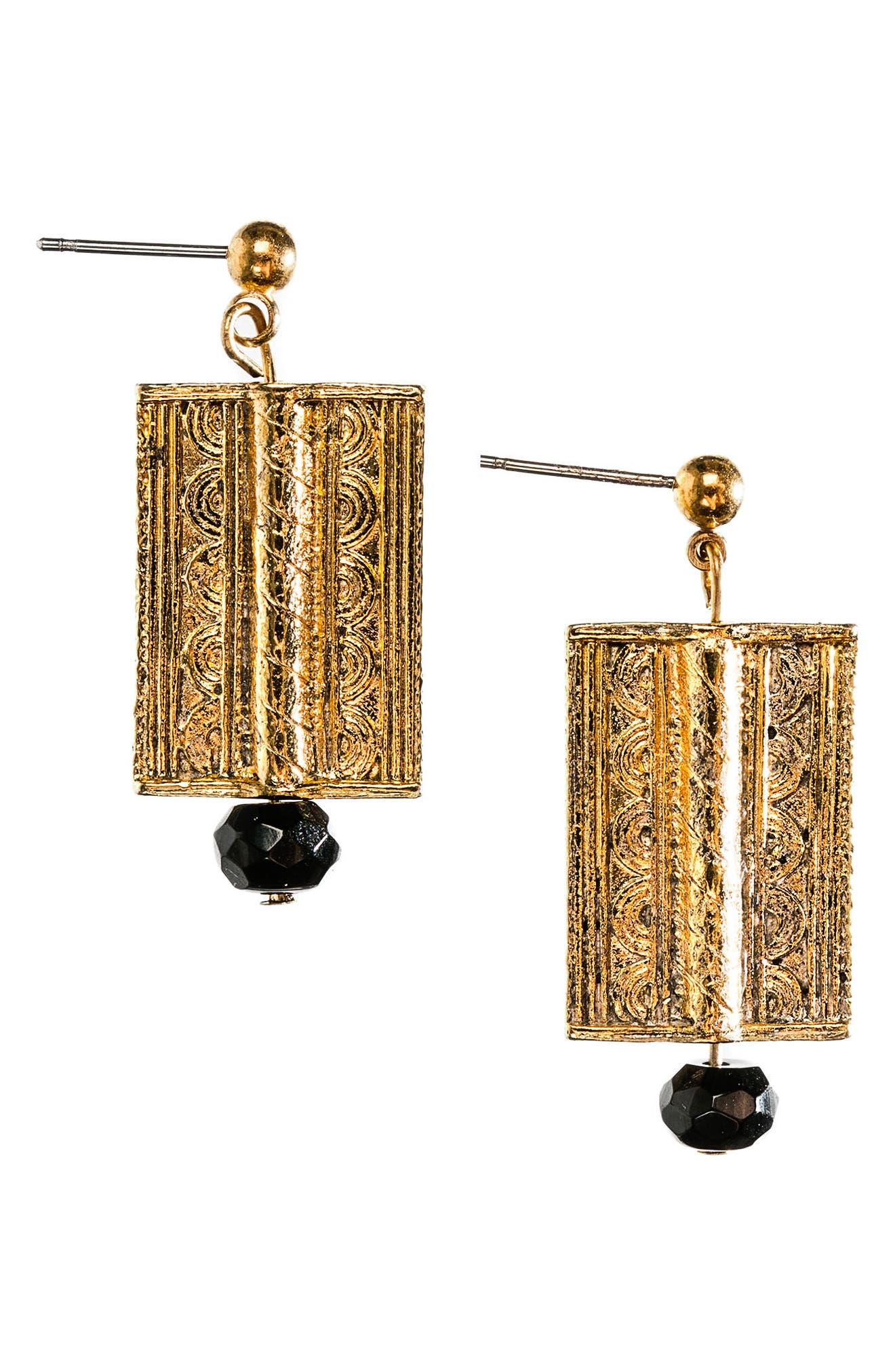 The Onyx Amulet Drop Earrings,                             Main thumbnail 1, color,                             710