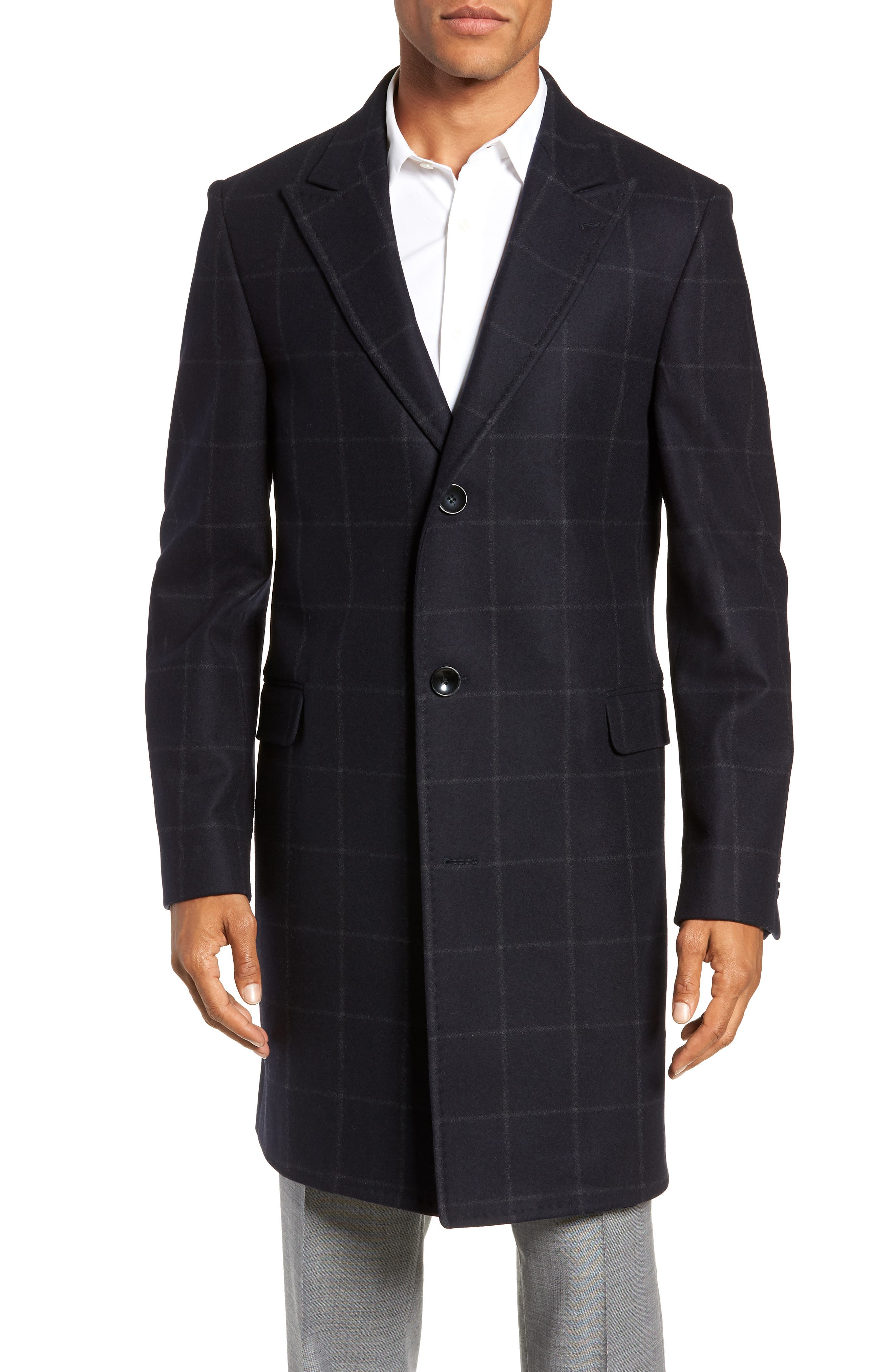 Addison Windowpane Wool Blend Overcoat,                         Main,                         color, NAVY