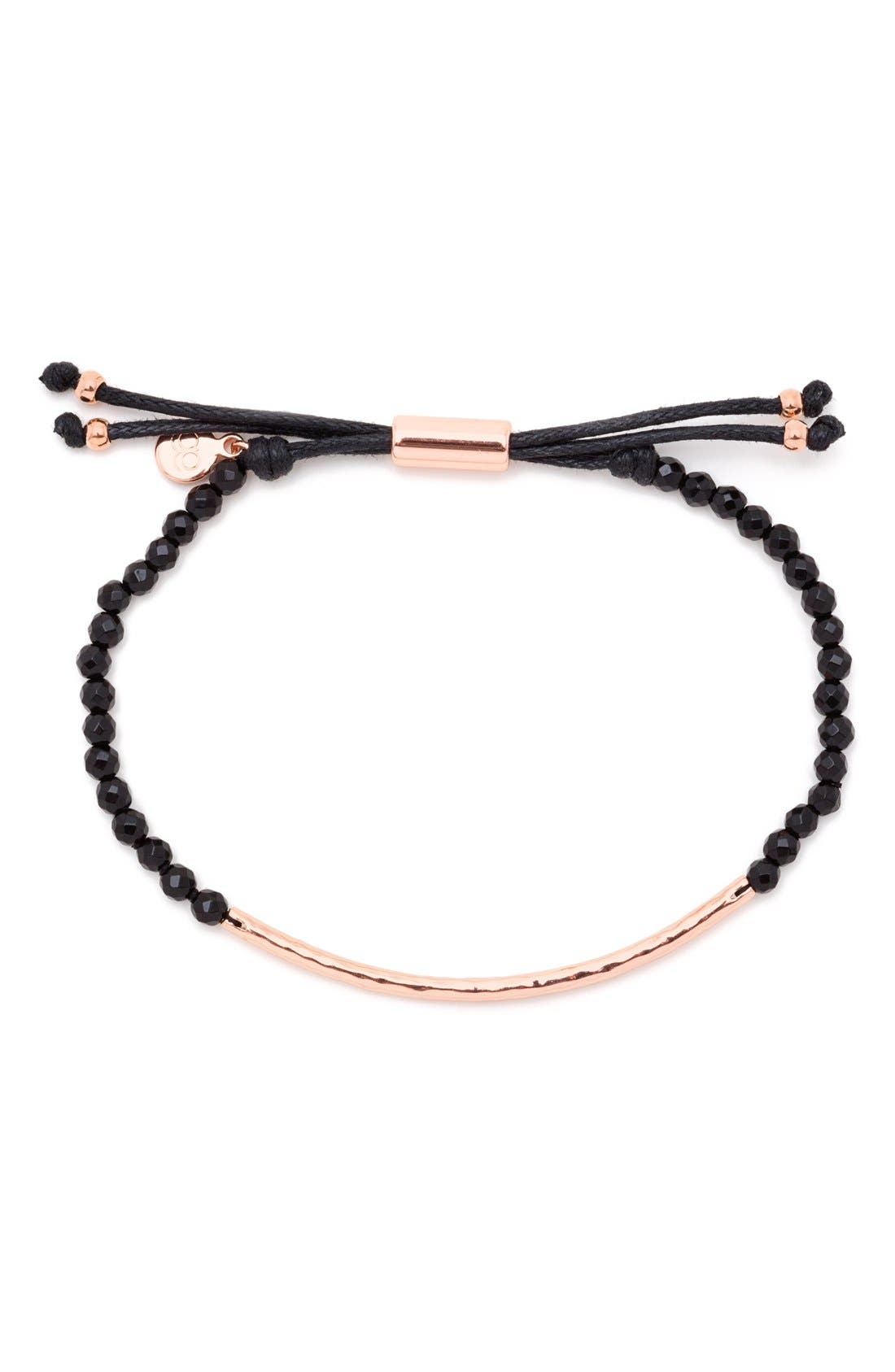GORJANA,                             Power Gemstone Beaded Bracelet,                             Alternate thumbnail 2, color,                             PROTECTION/ BLACK/ ROSE GOLD