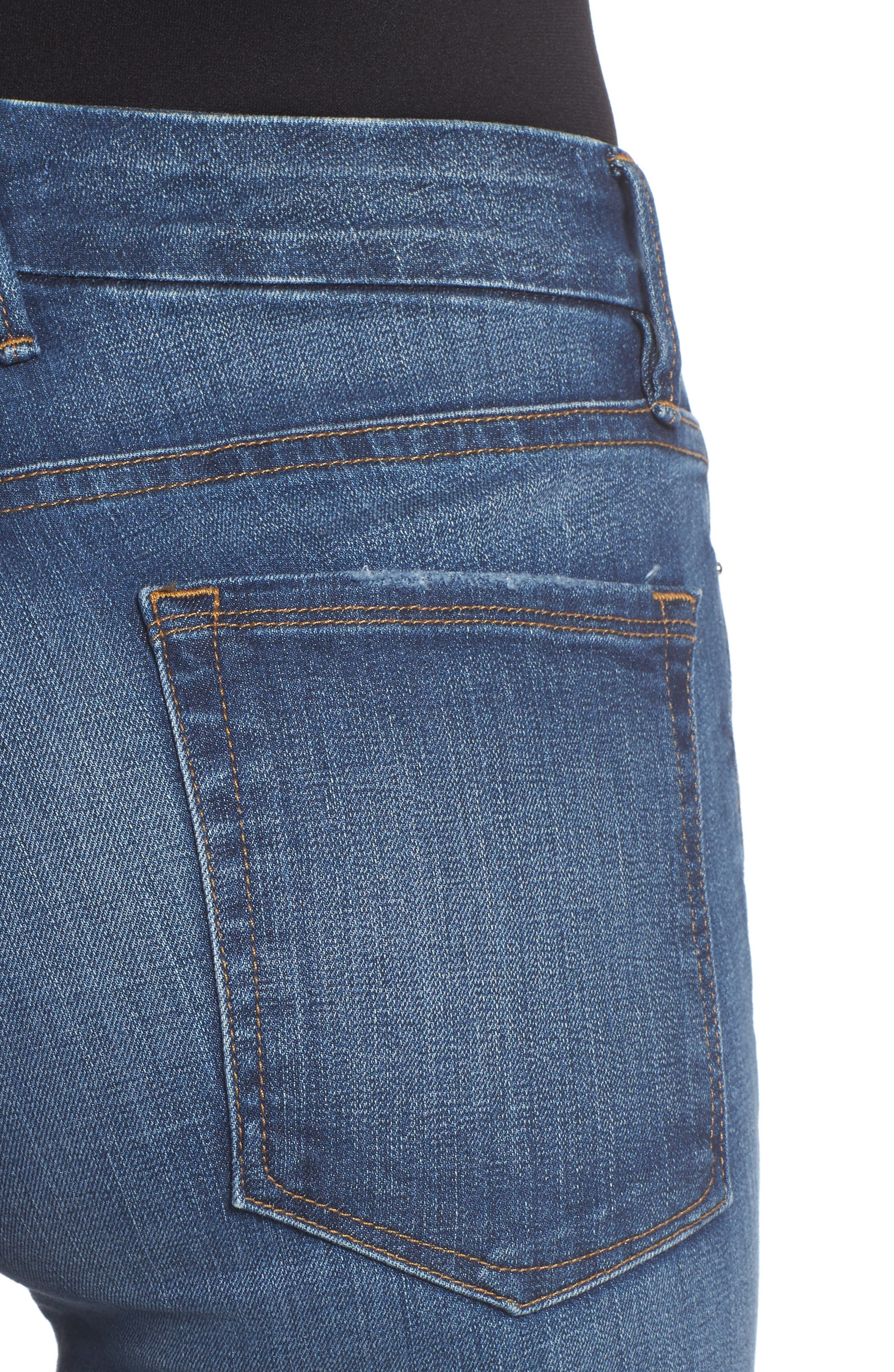 Good Straight Raw Hem High Waist Straight Leg Jeans,                             Alternate thumbnail 4, color,                             401