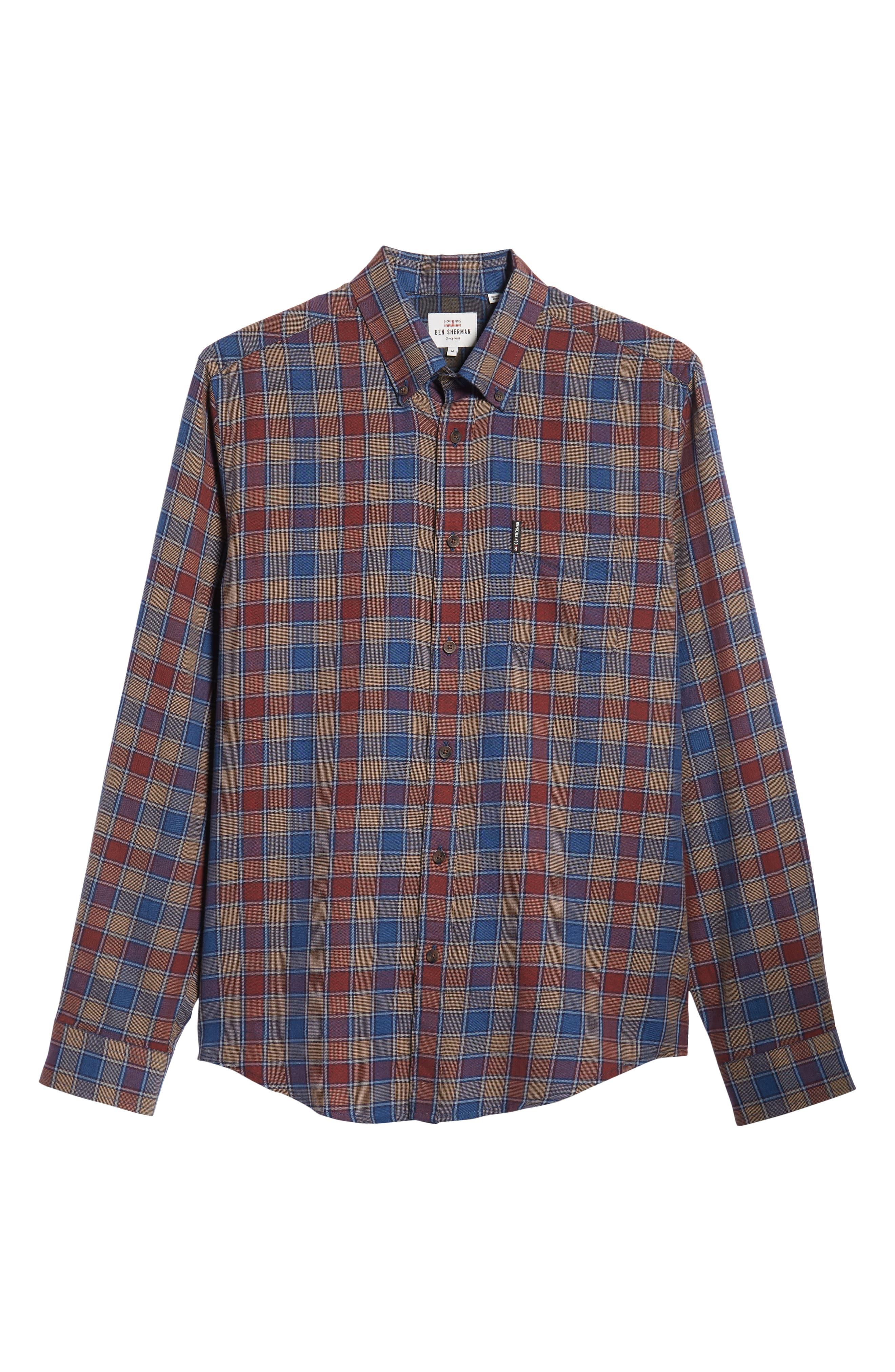 Heritage Check Slim Fit Sport Shirt,                             Alternate thumbnail 5, color,                             BURNT ORANGE