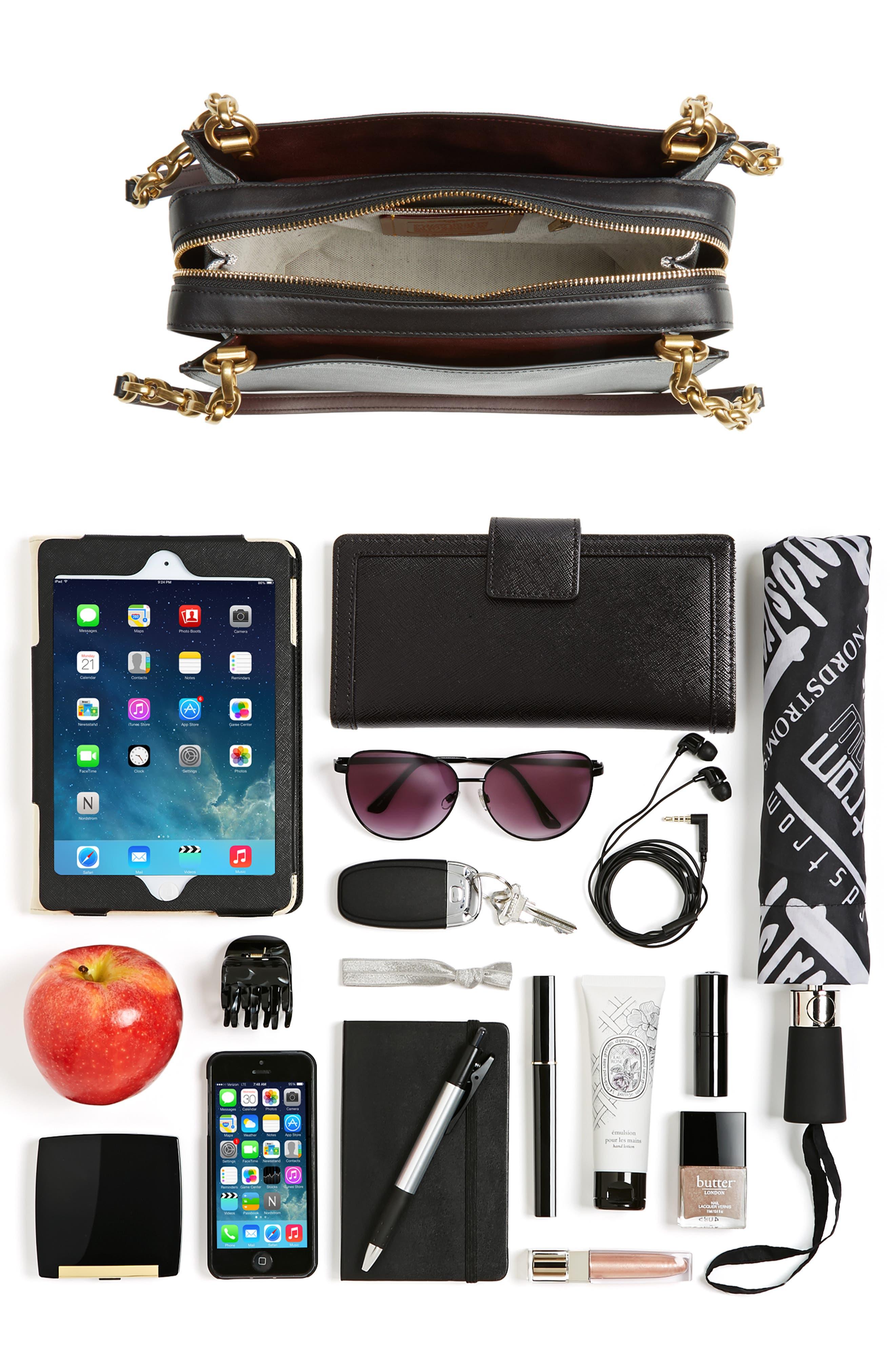 Rogue Leather Shoulder Bag,                             Alternate thumbnail 7, color,                             BLACK