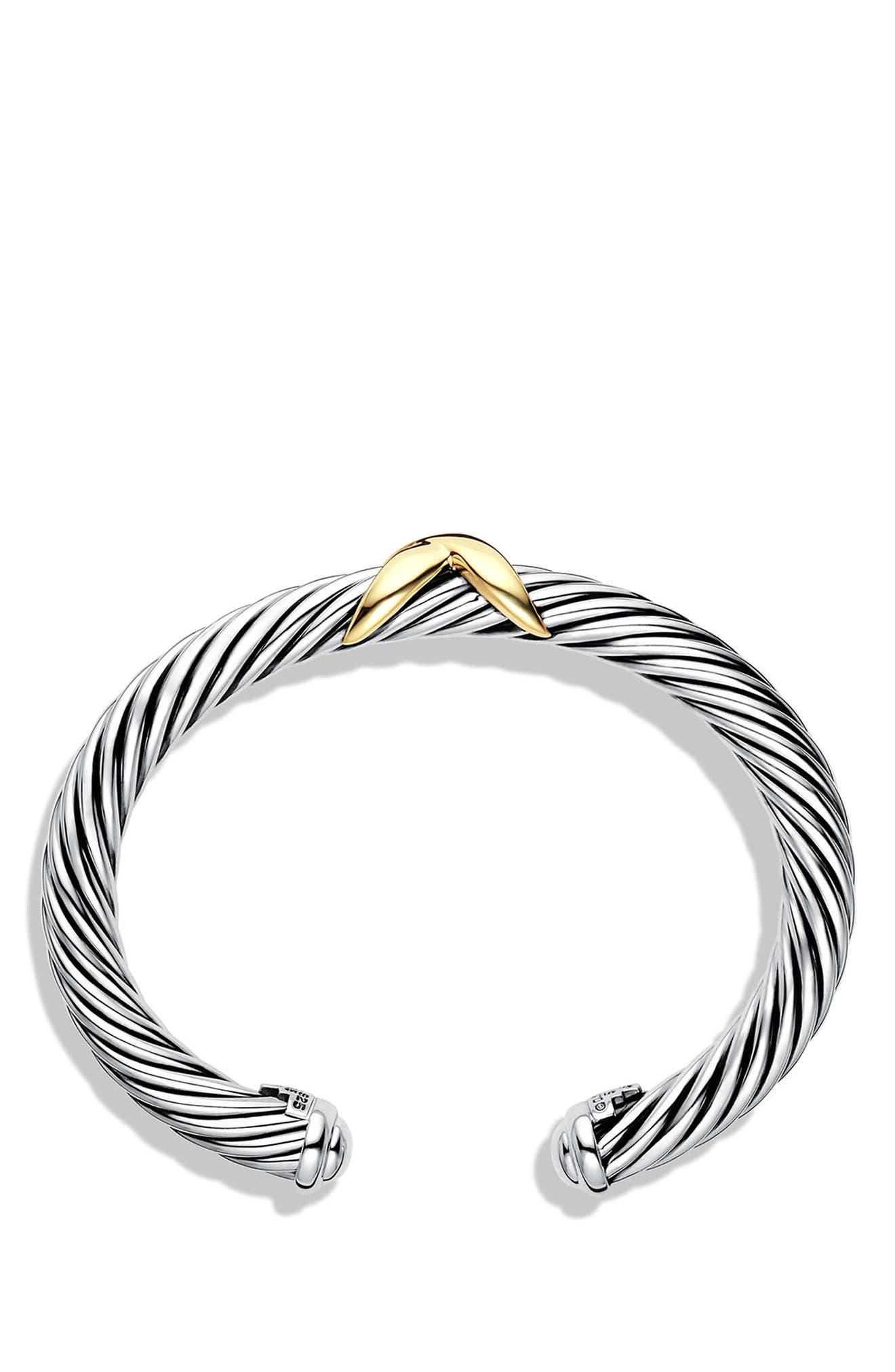 X Bracelet with 14K Gold,                             Alternate thumbnail 2, color,                             SILVER/ 14K GOLD