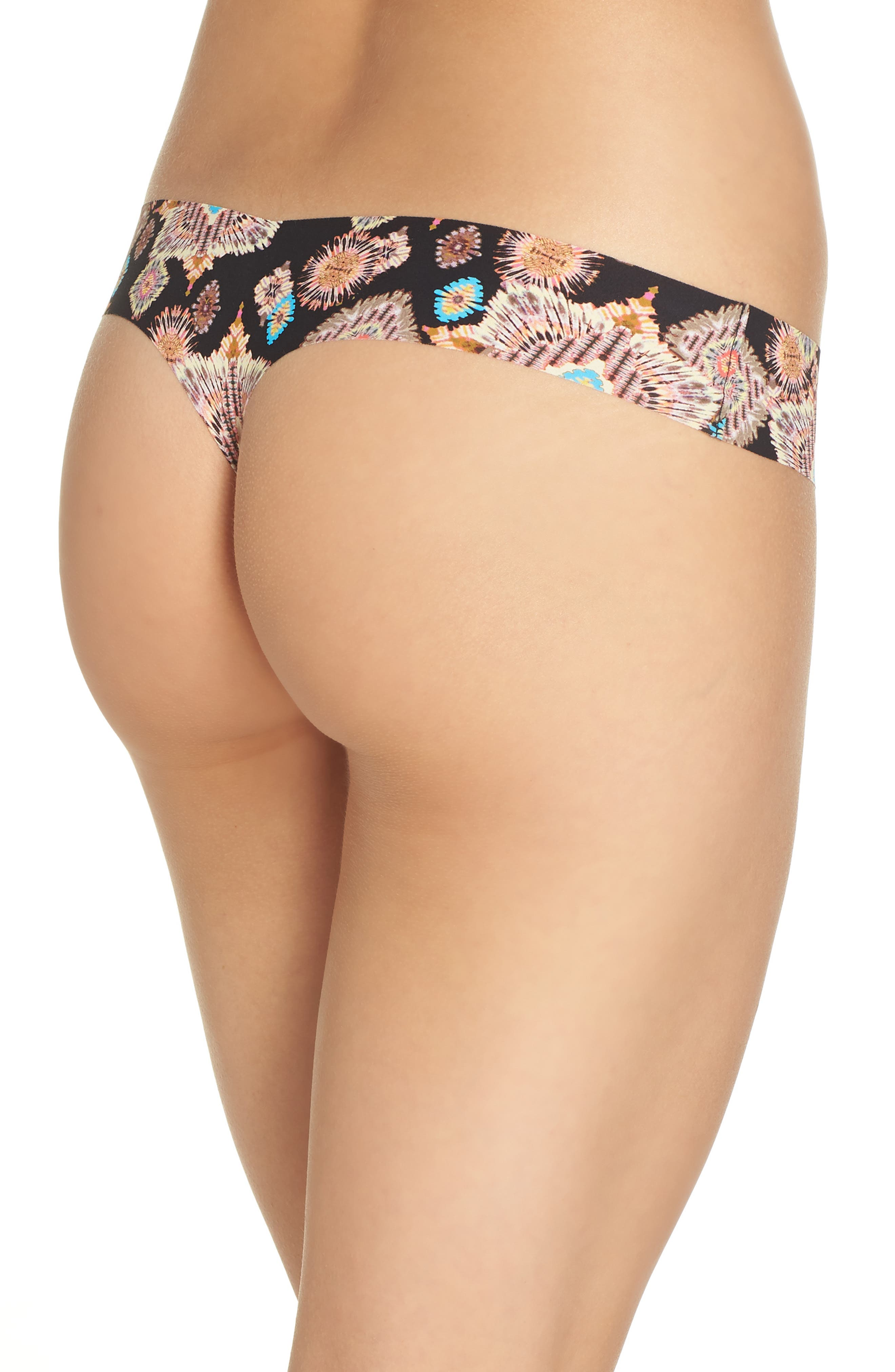 Print Microfiber Thong,                             Alternate thumbnail 100, color,